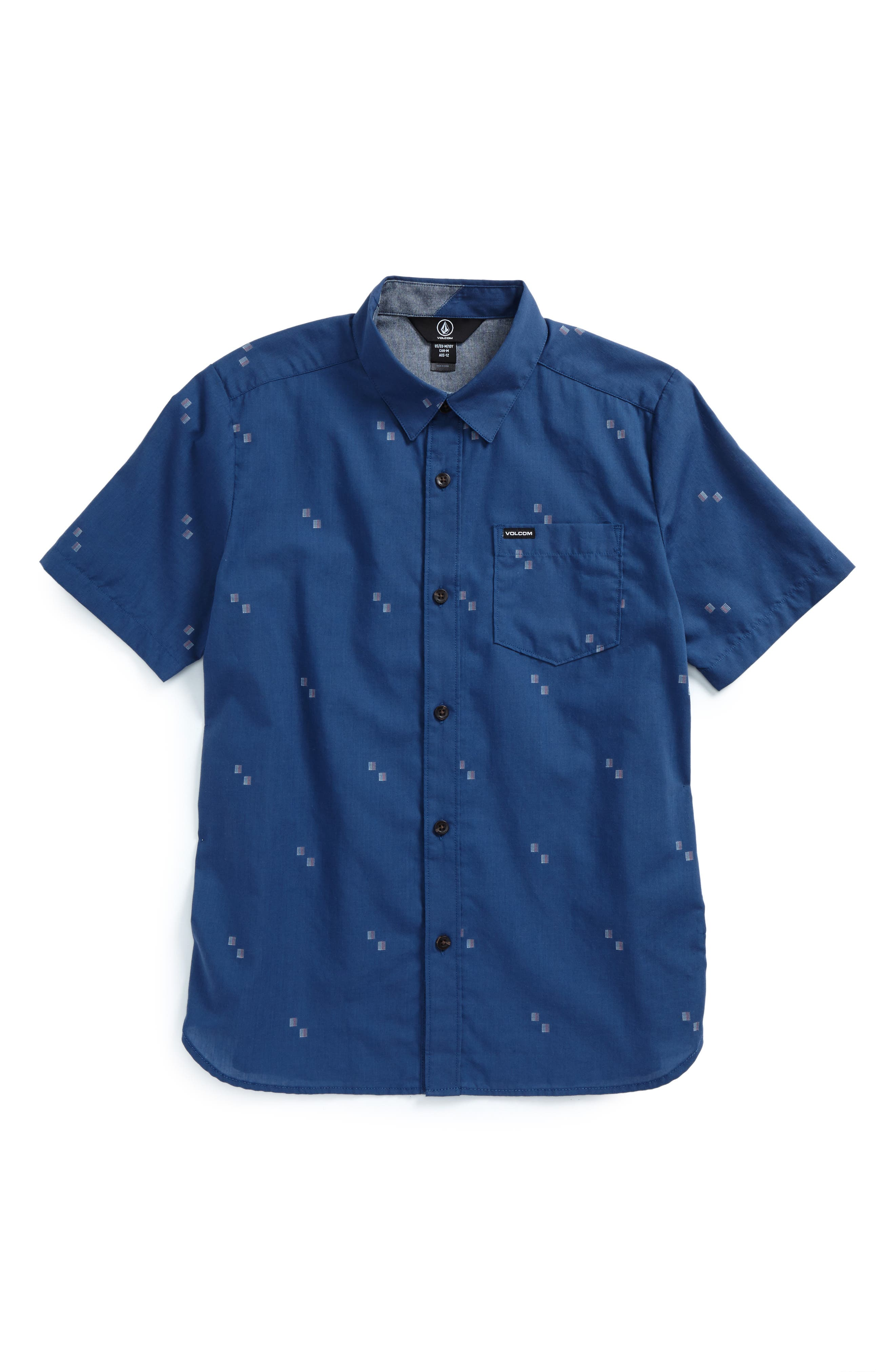 Floyd Geo Pattern Woven Shirt,                         Main,                         color, Smokey Blue