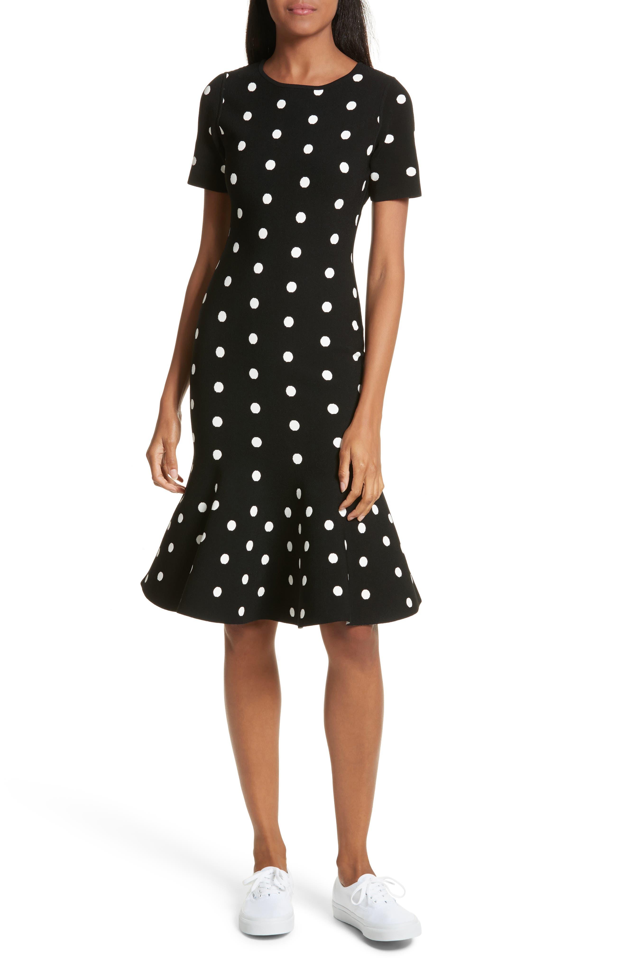 Polka Dot Mermaid Dress,                         Main,                         color, Black/ White