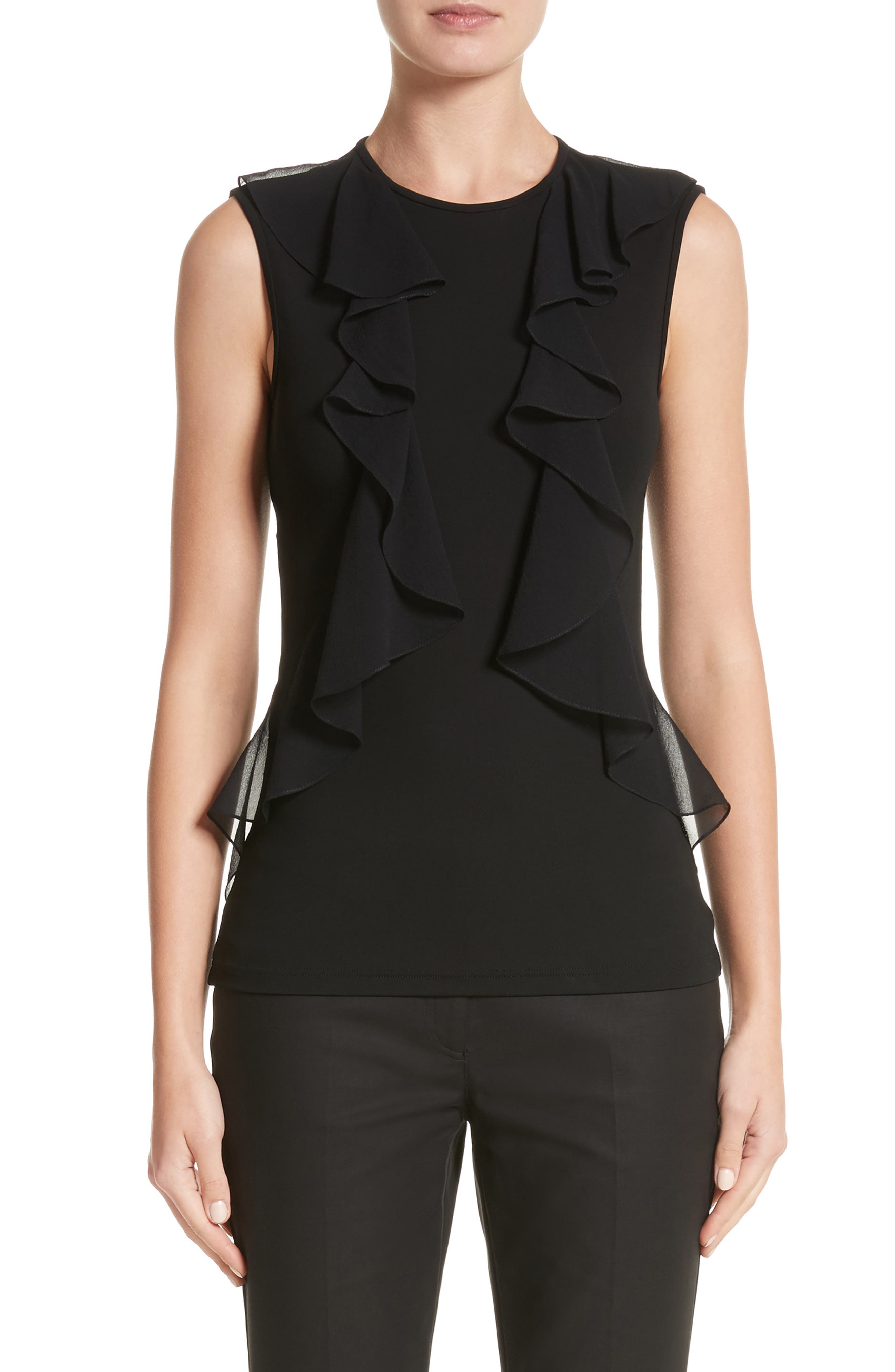 Ruffle Front Georgette Shell,                         Main,                         color, Black