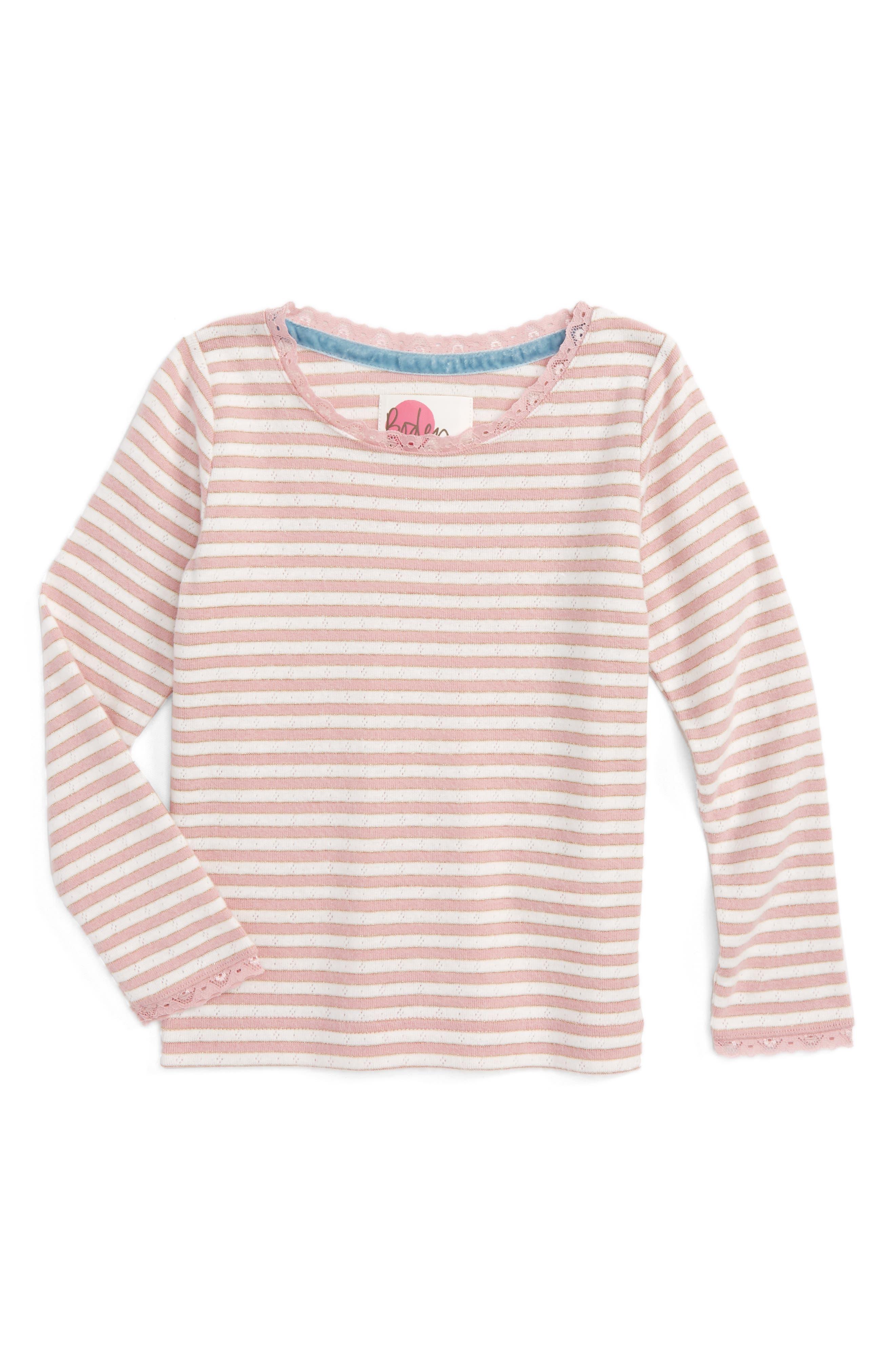 Main Image - Mini Boden Sparkly Pointelle Tee (Toddler Girls, Little Girls & Big Girls)
