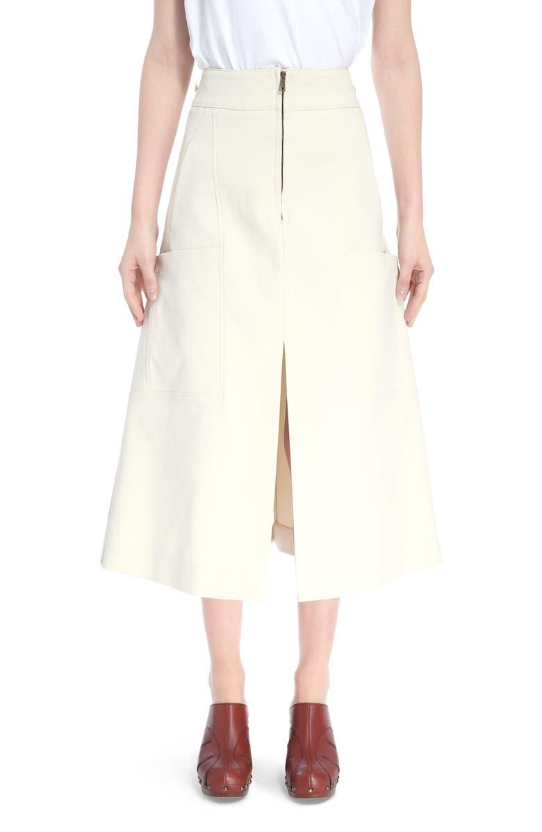 Workwear A-Line Midi Skirt