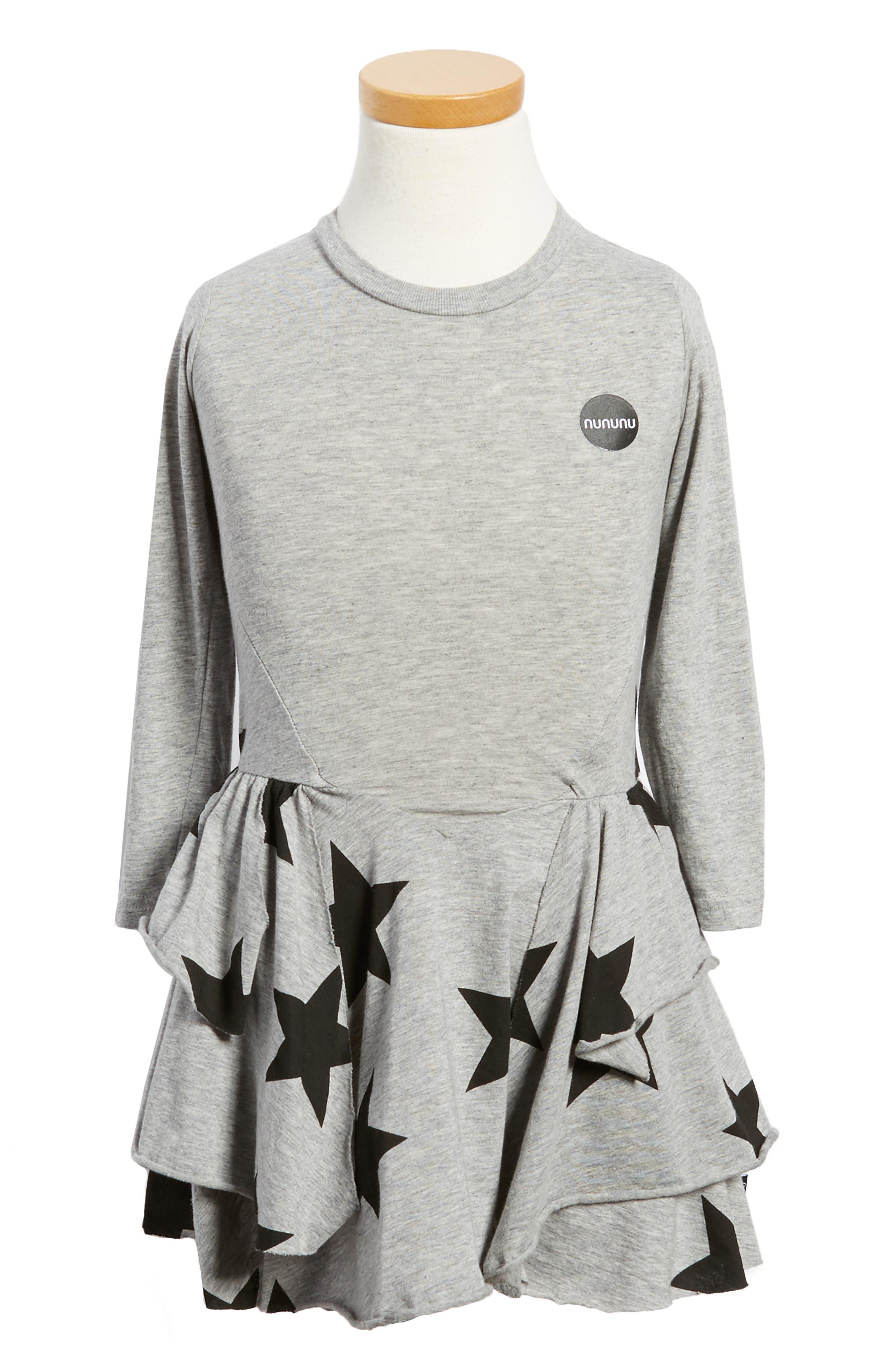 NUNUNU Star Print Layered Dress (Toddler Girls & Little Girls)