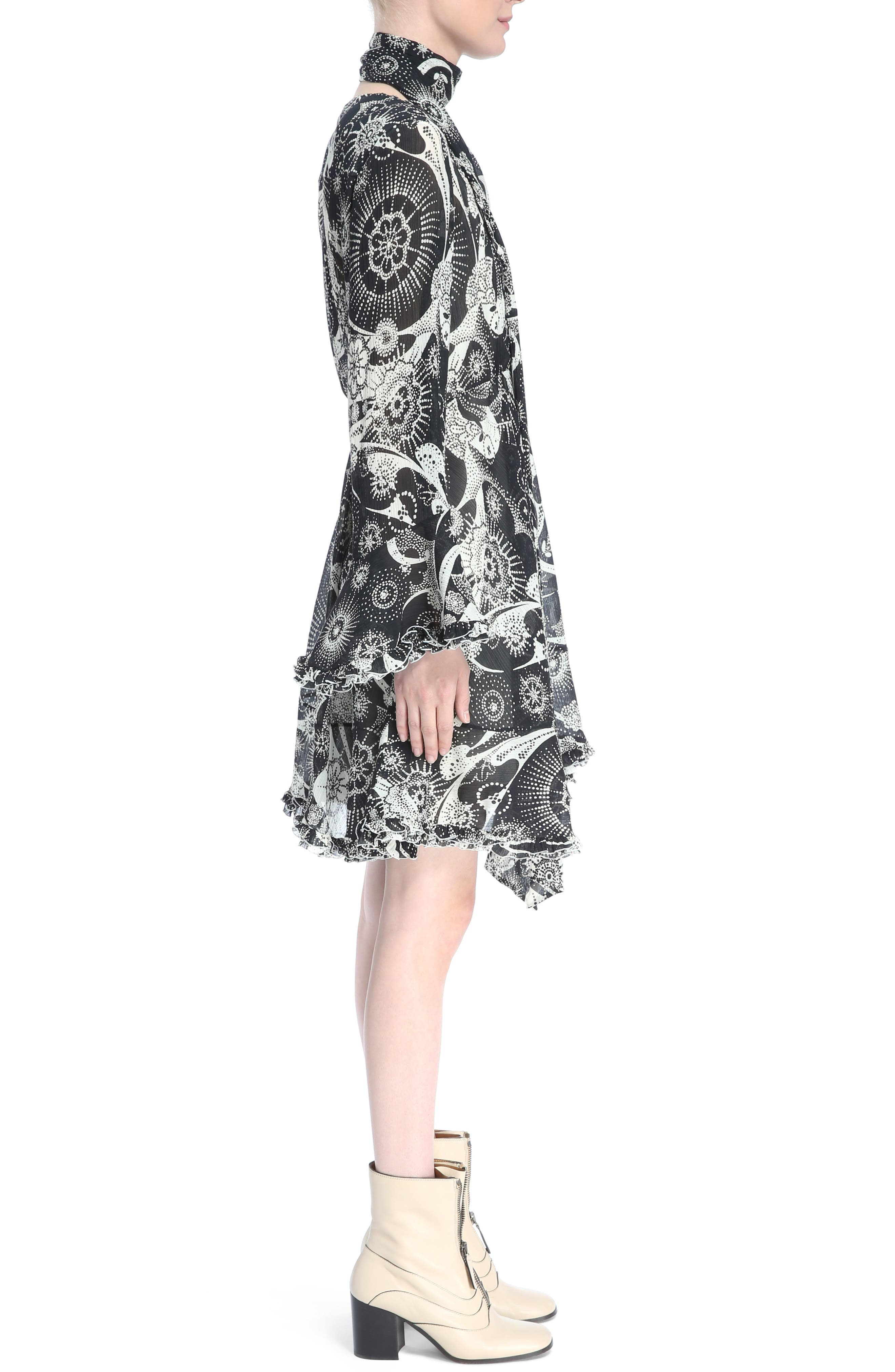 Dotty Ruffle Trim Crépon Dress with Scarf,                             Alternate thumbnail 3, color,                             Black-White