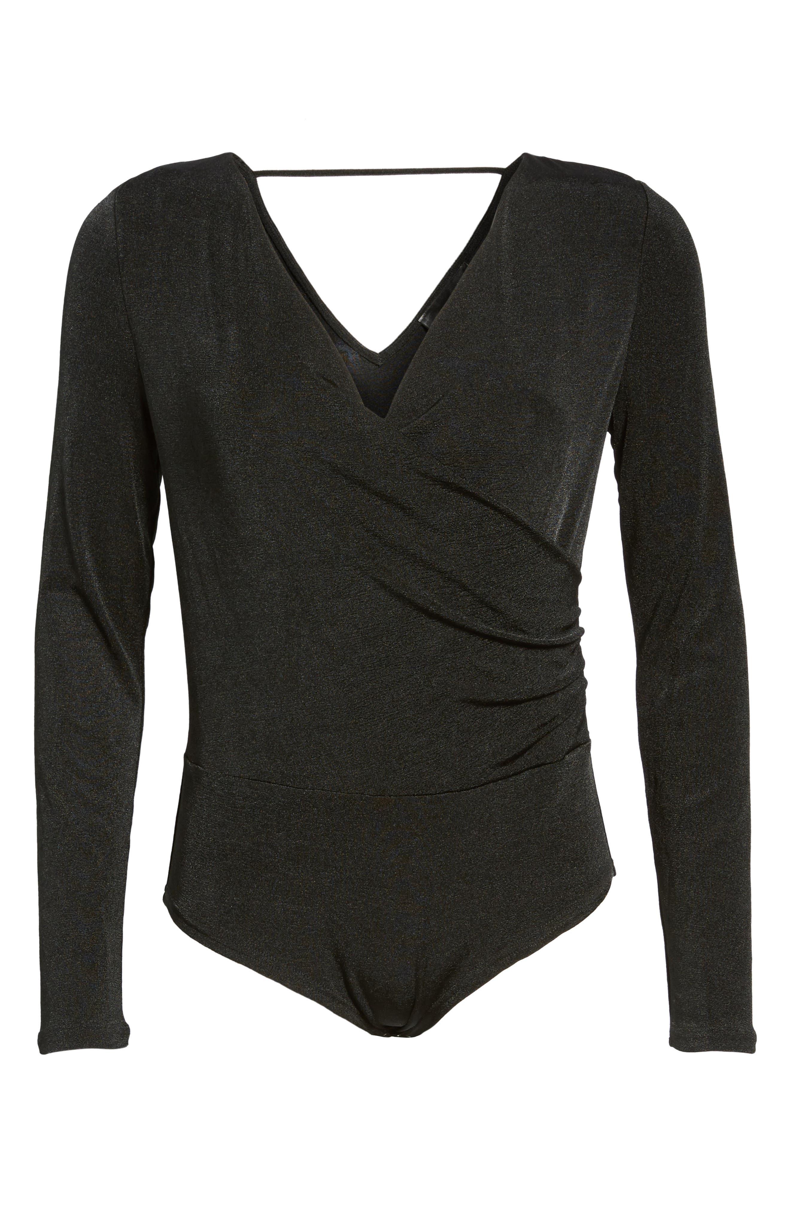 Surplice Bodysuit,                             Alternate thumbnail 6, color,                             Black