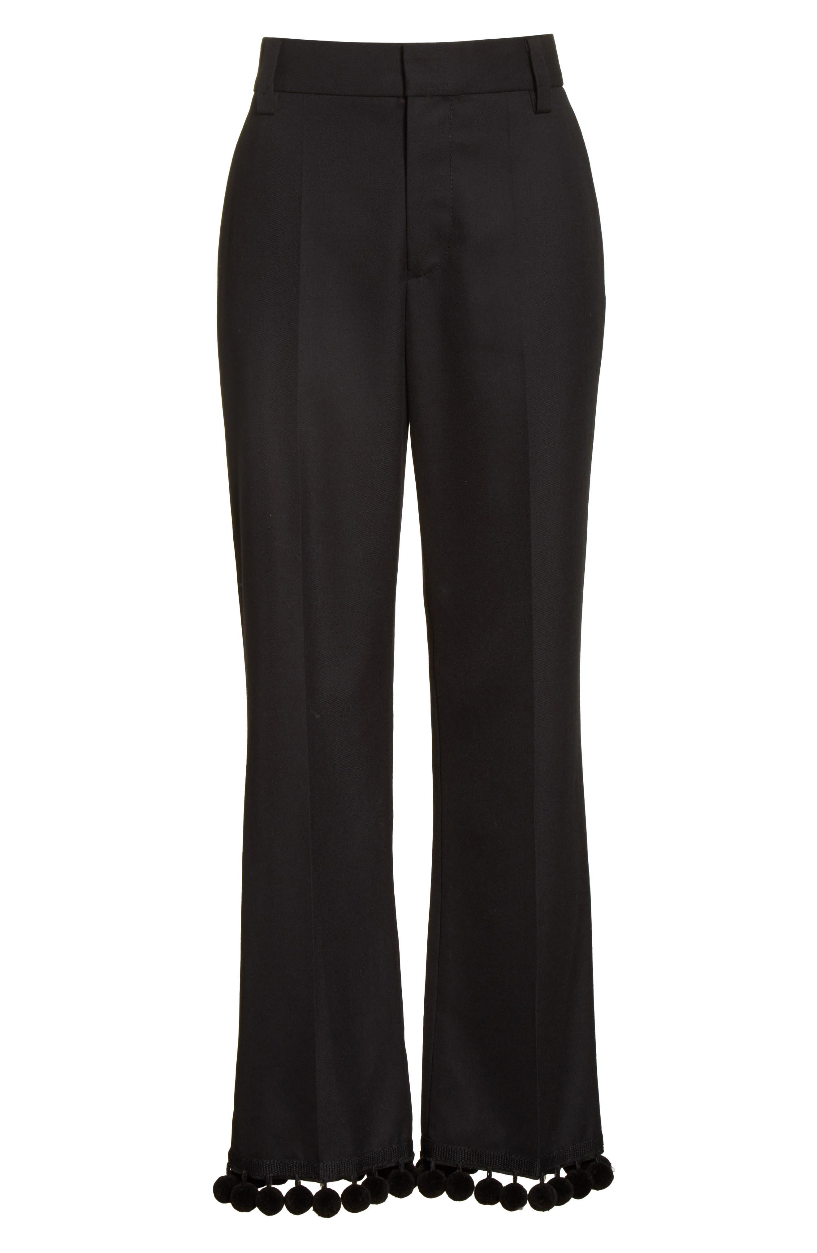 Pompom Hem Trousers,                             Alternate thumbnail 7, color,                             Black