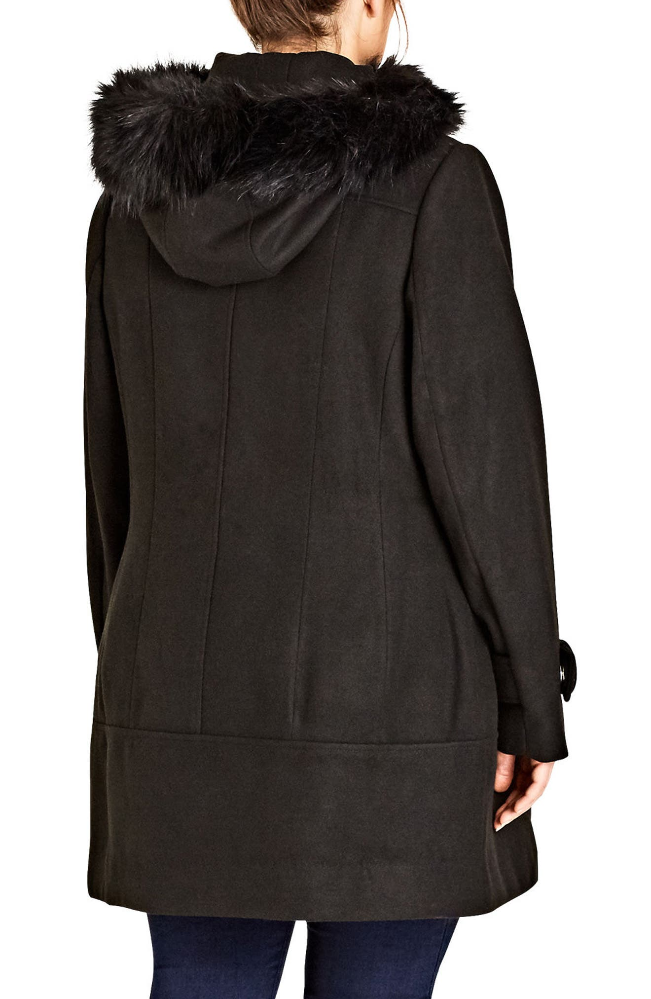 Alternate Image 2  - City Chic Wonderland Peacoat with Faux Fur Trim (Plus Size)