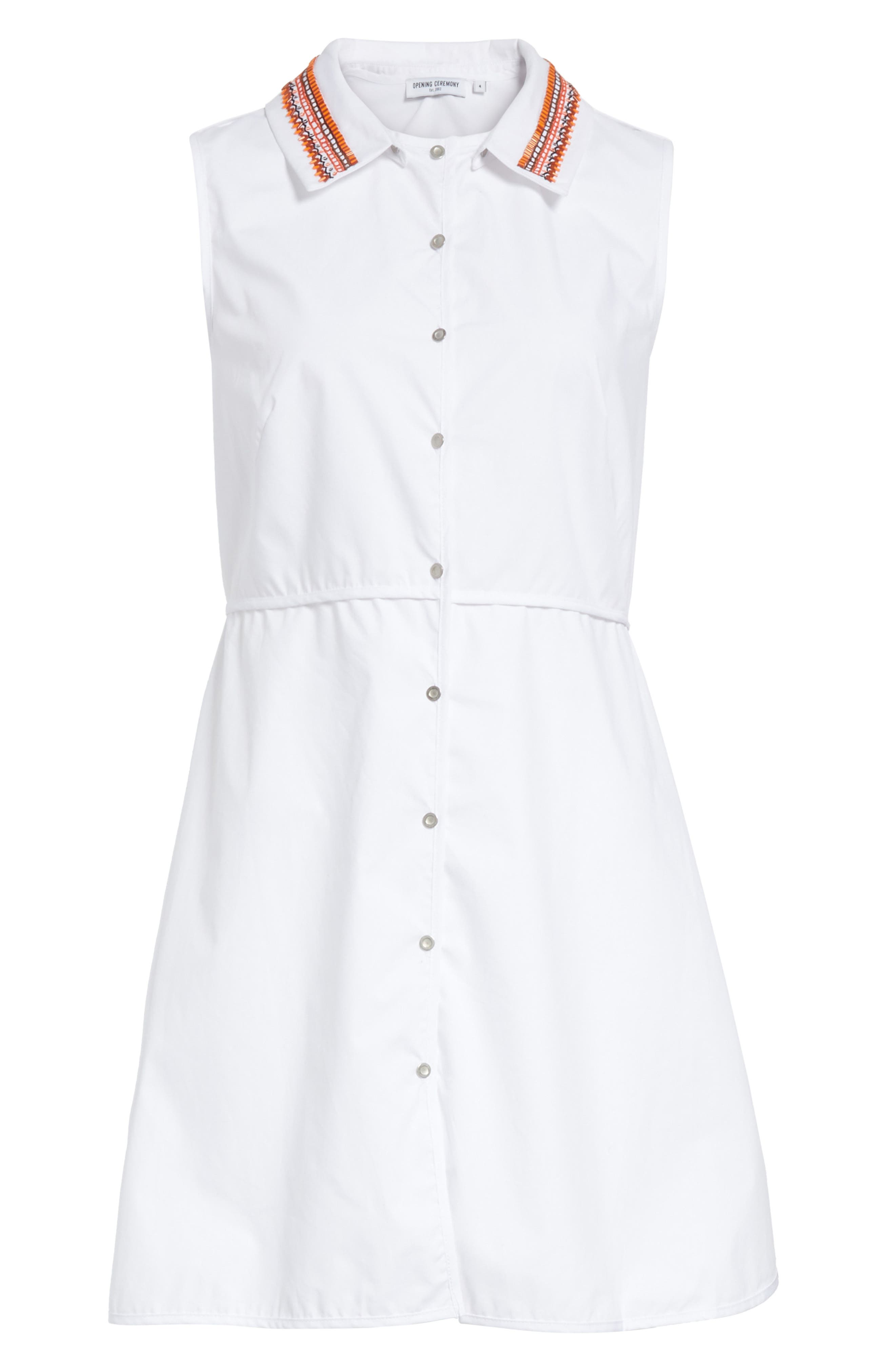 Transformer Poplin Dress with Detachable Embroidered Collar,                             Alternate thumbnail 6, color,                             White
