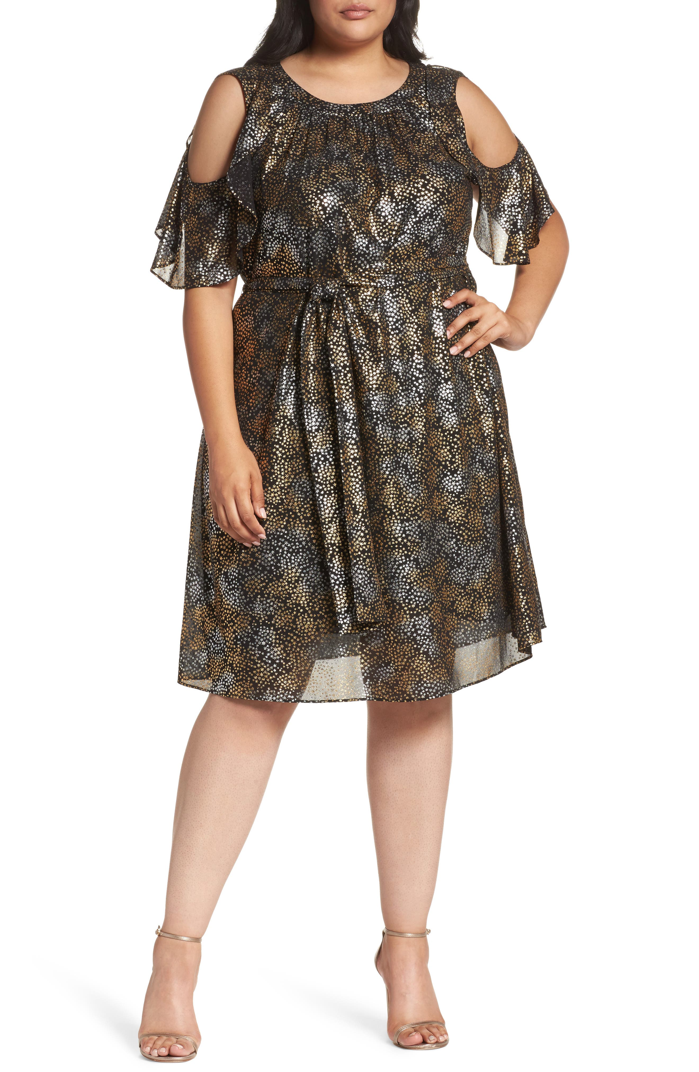Main Image - MICHAEL Michael Kors Cold Shoulder Metallic Star A-Line Dress (Plus Size)