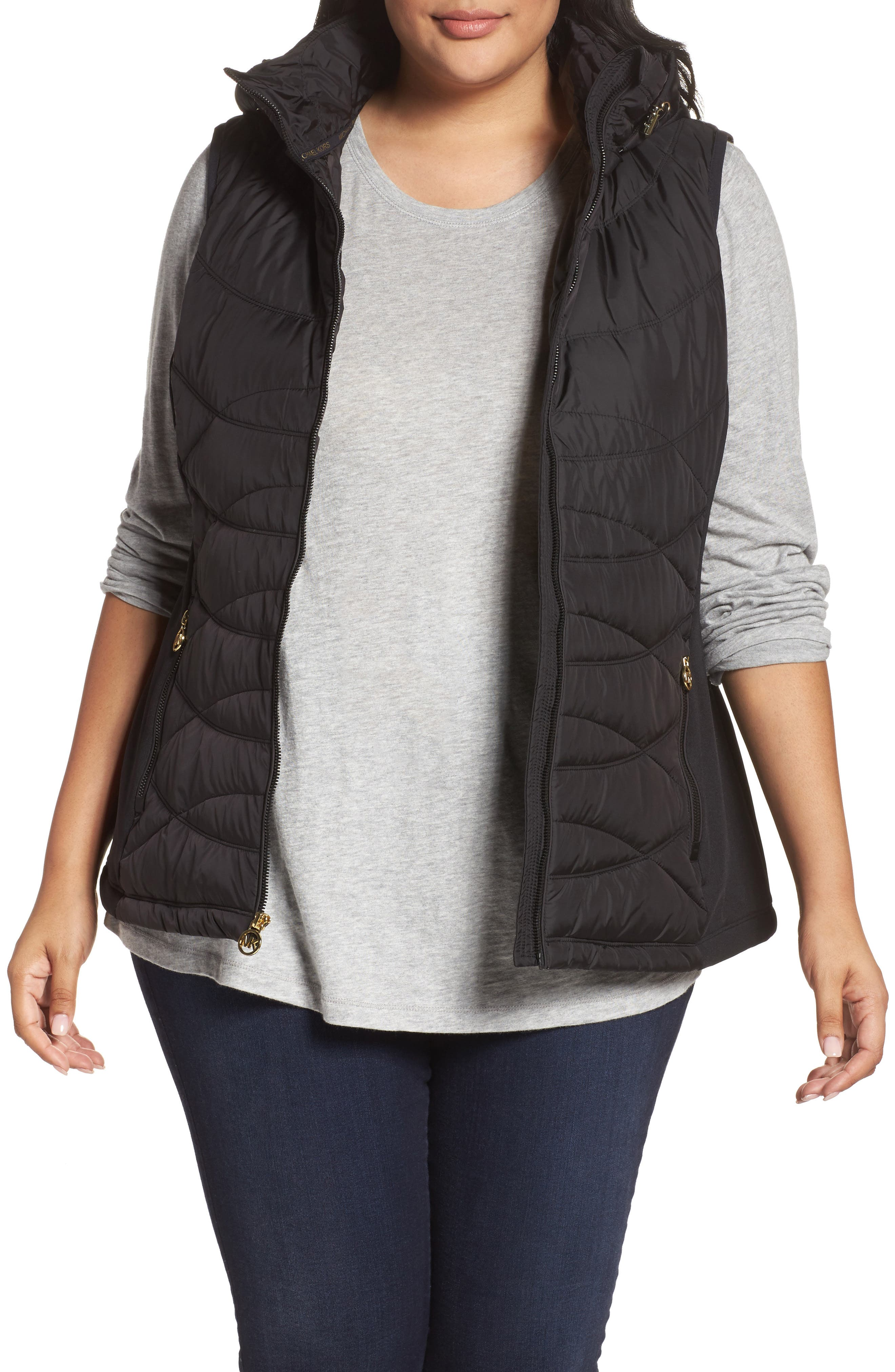 MICHAEL Michael Kors Hooded Quilted Down Vest (Plus Size)