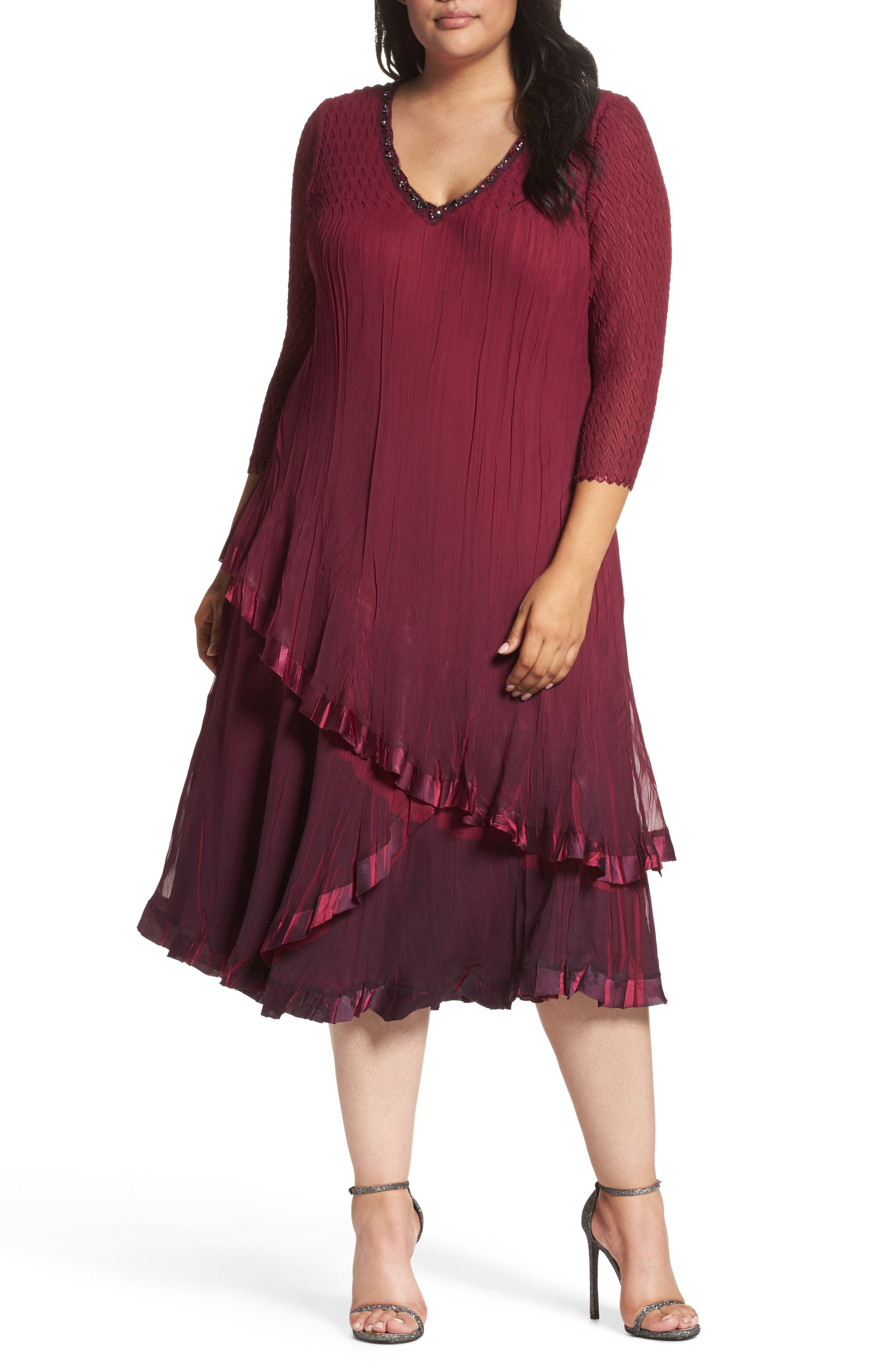 Tiered Ombrè Charmeuse & Chiffon Dress,                         Main,                         color, Red Plum Blue