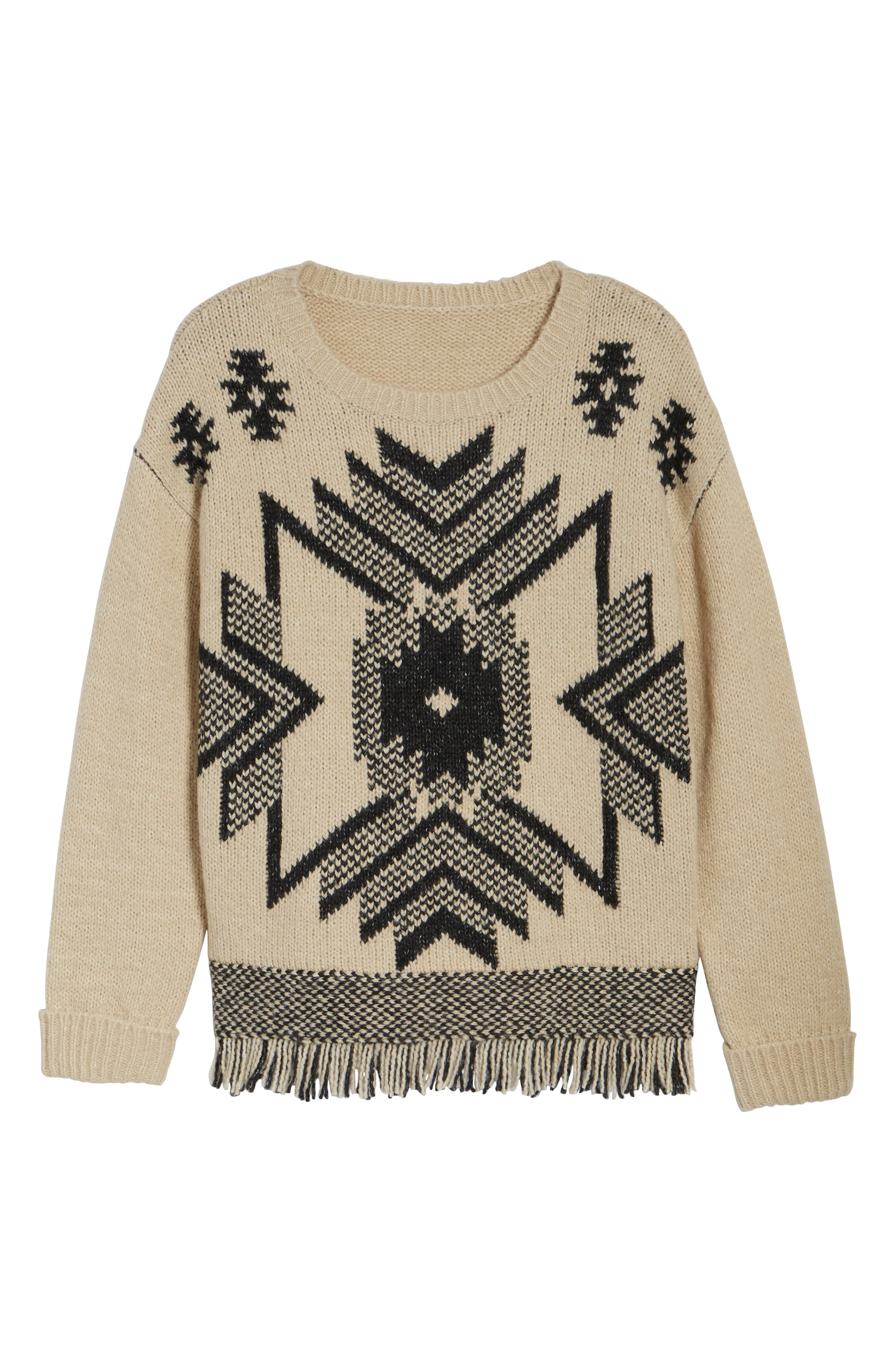 Fringe Sweater,                             Alternate thumbnail 6, color,                             Husked Tan