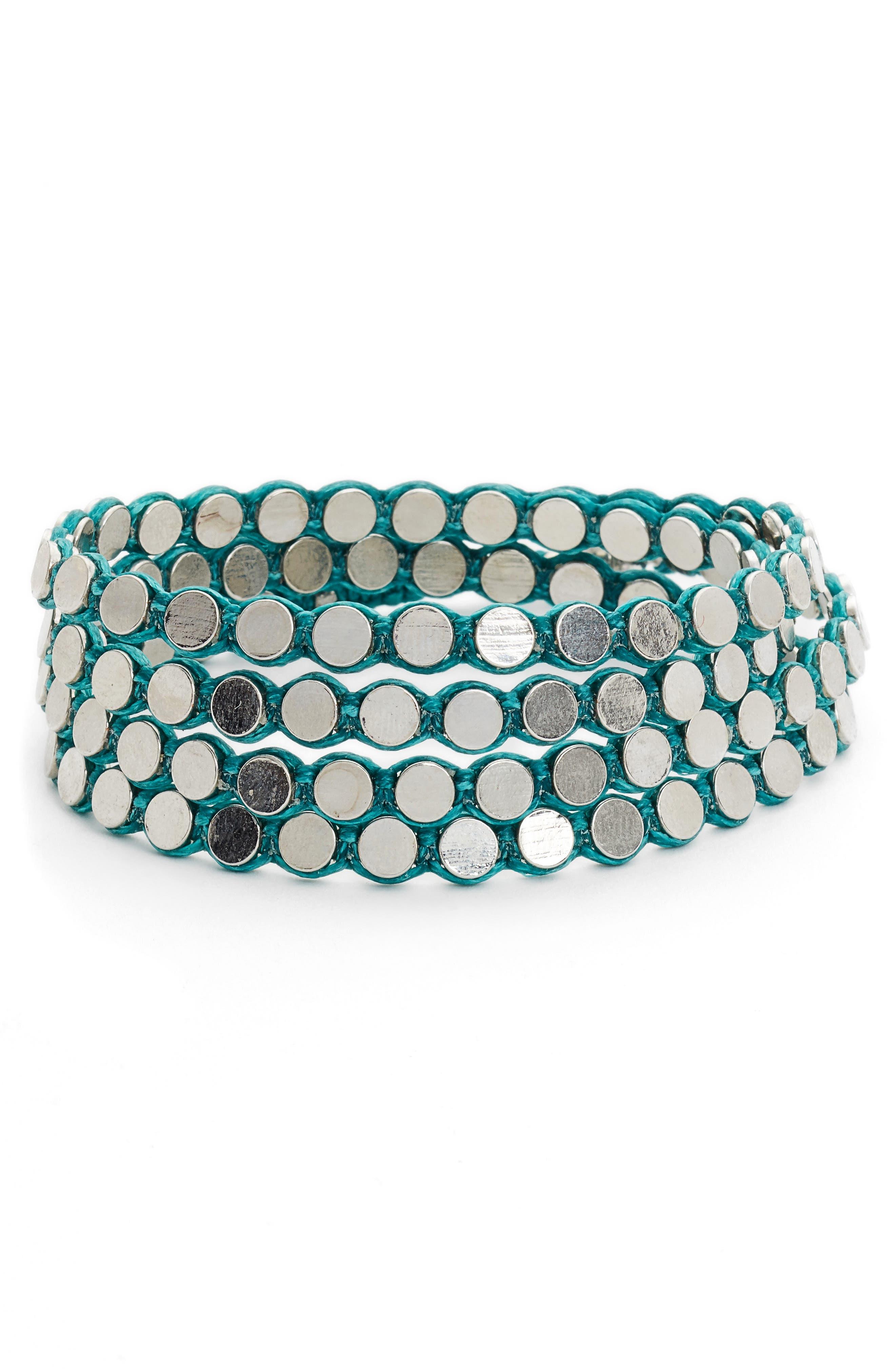 Disk Wrap Bracelet,                             Main thumbnail 1, color,                             Silver/ Turquoise