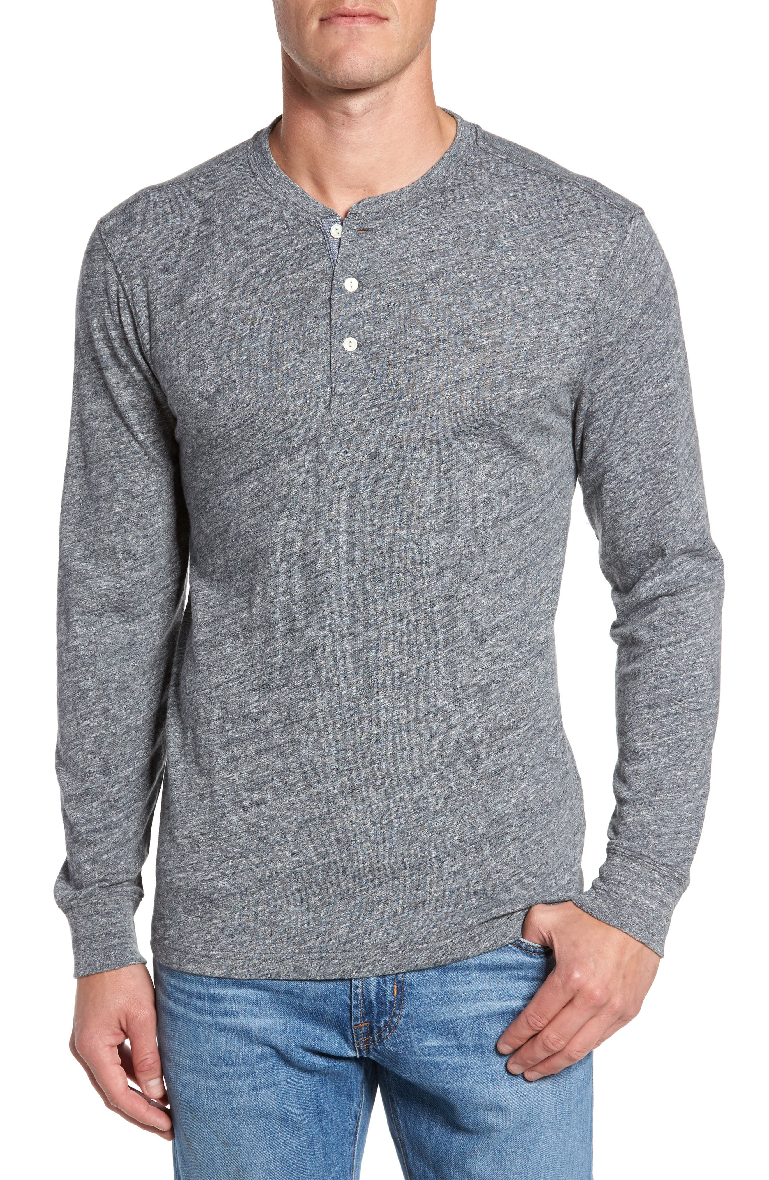 Marled Long Sleeve Henley,                         Main,                         color, Charcoal