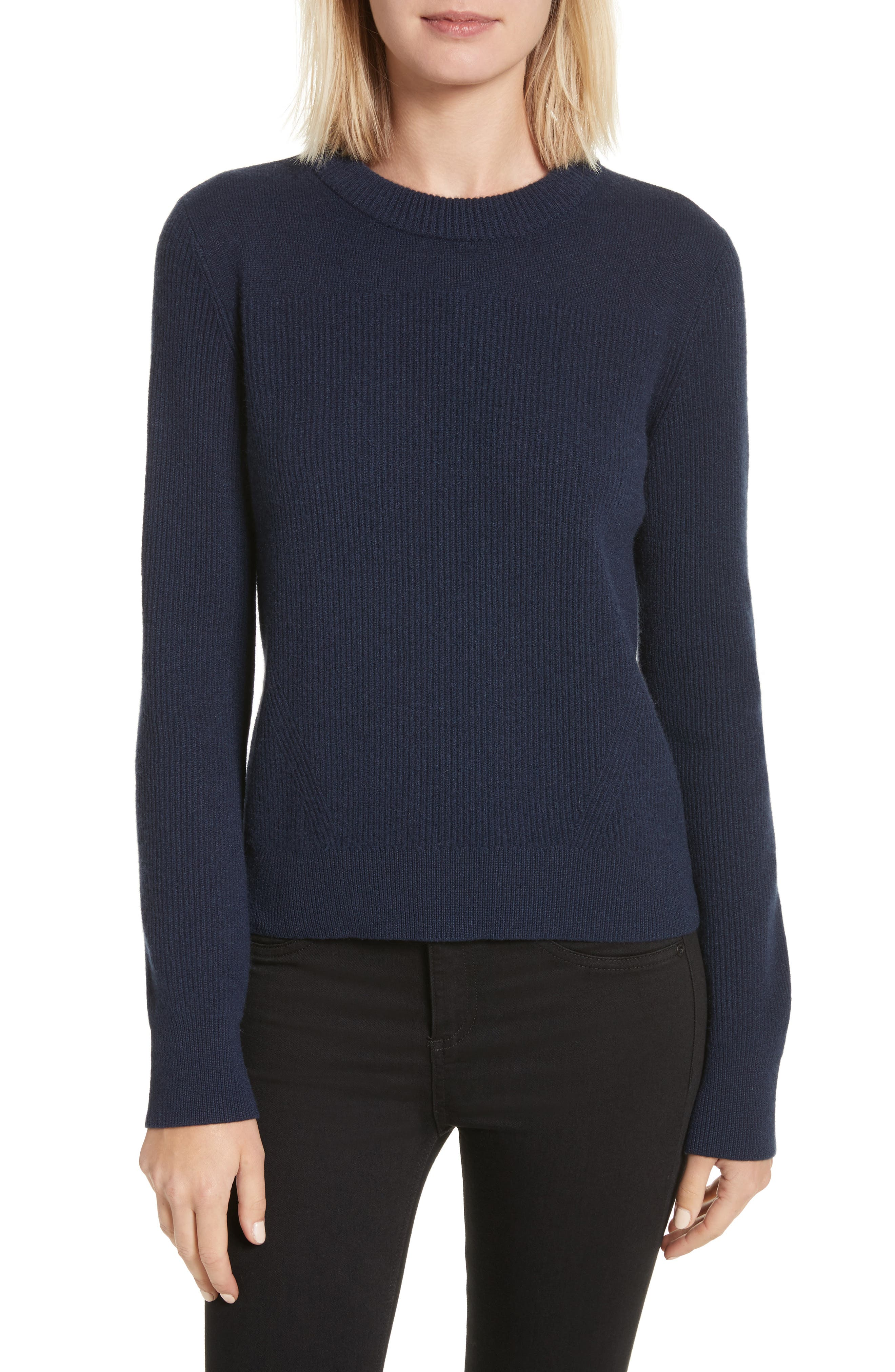 Ace Cashmere Crop Sweater,                         Main,                         color, Navy