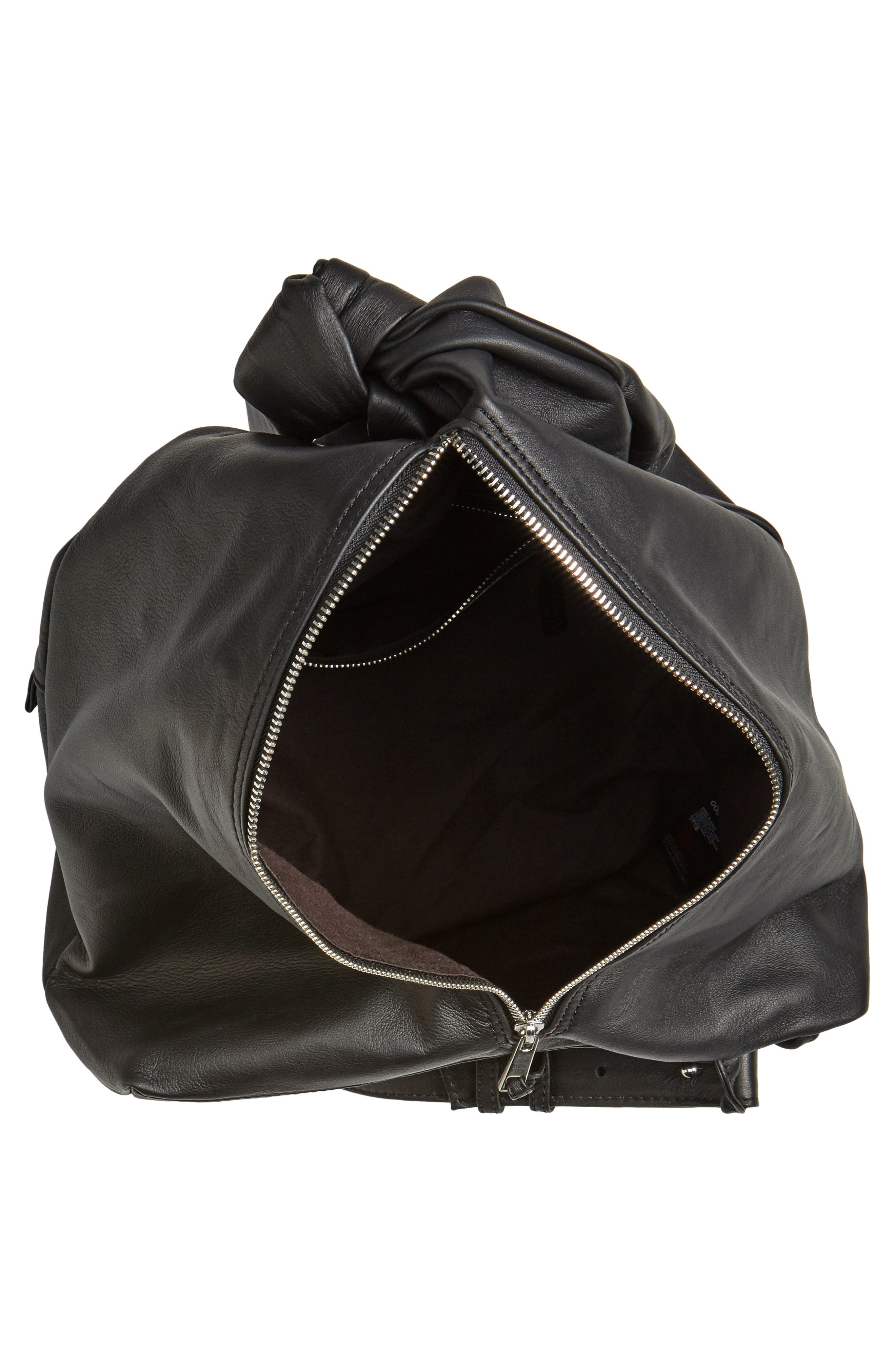 Premium Leather Slouch Knot Backpack,                             Alternate thumbnail 4, color,                             Black