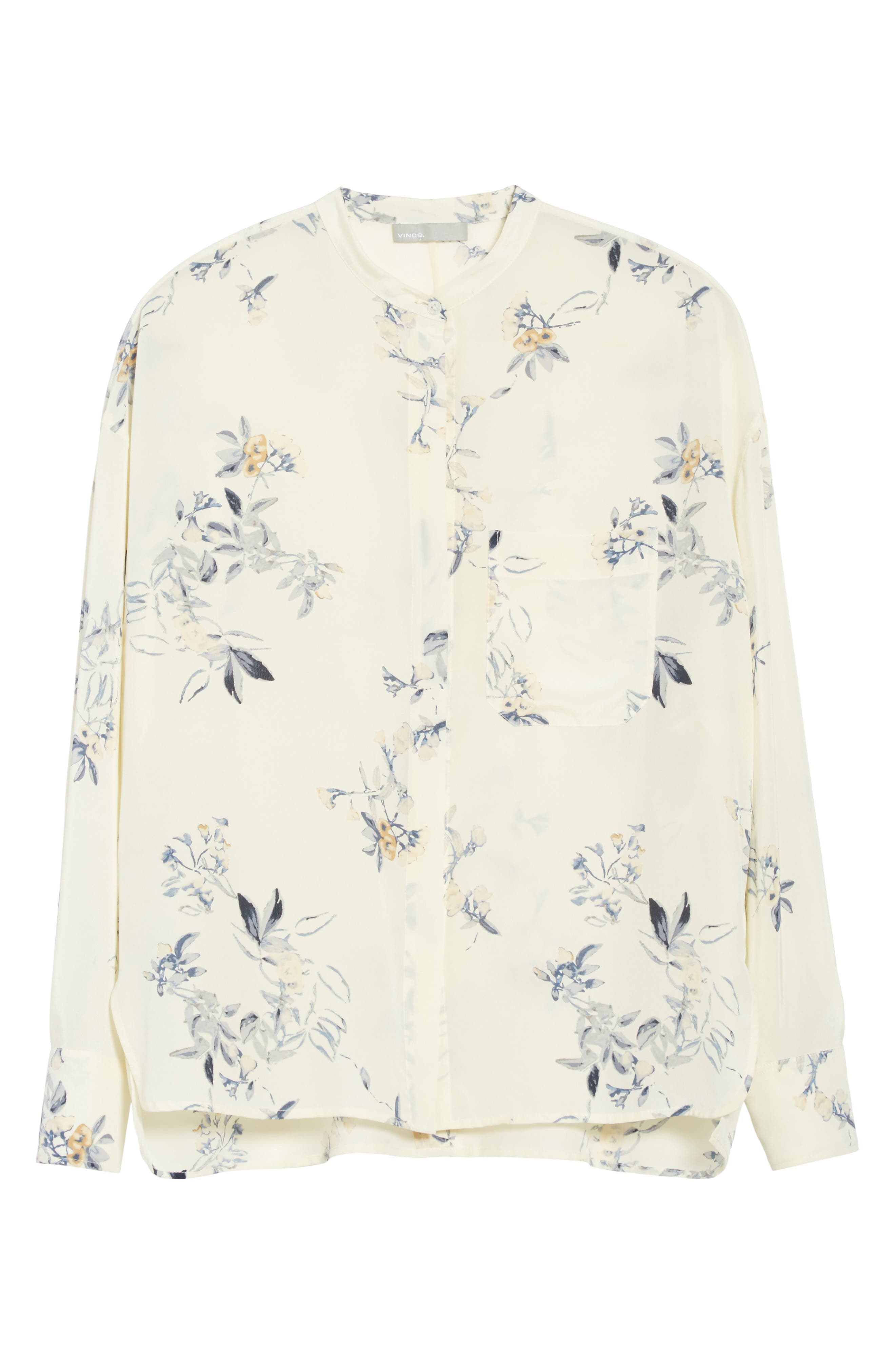 Floral Silk Blouse,                             Alternate thumbnail 6, color,                             Cream
