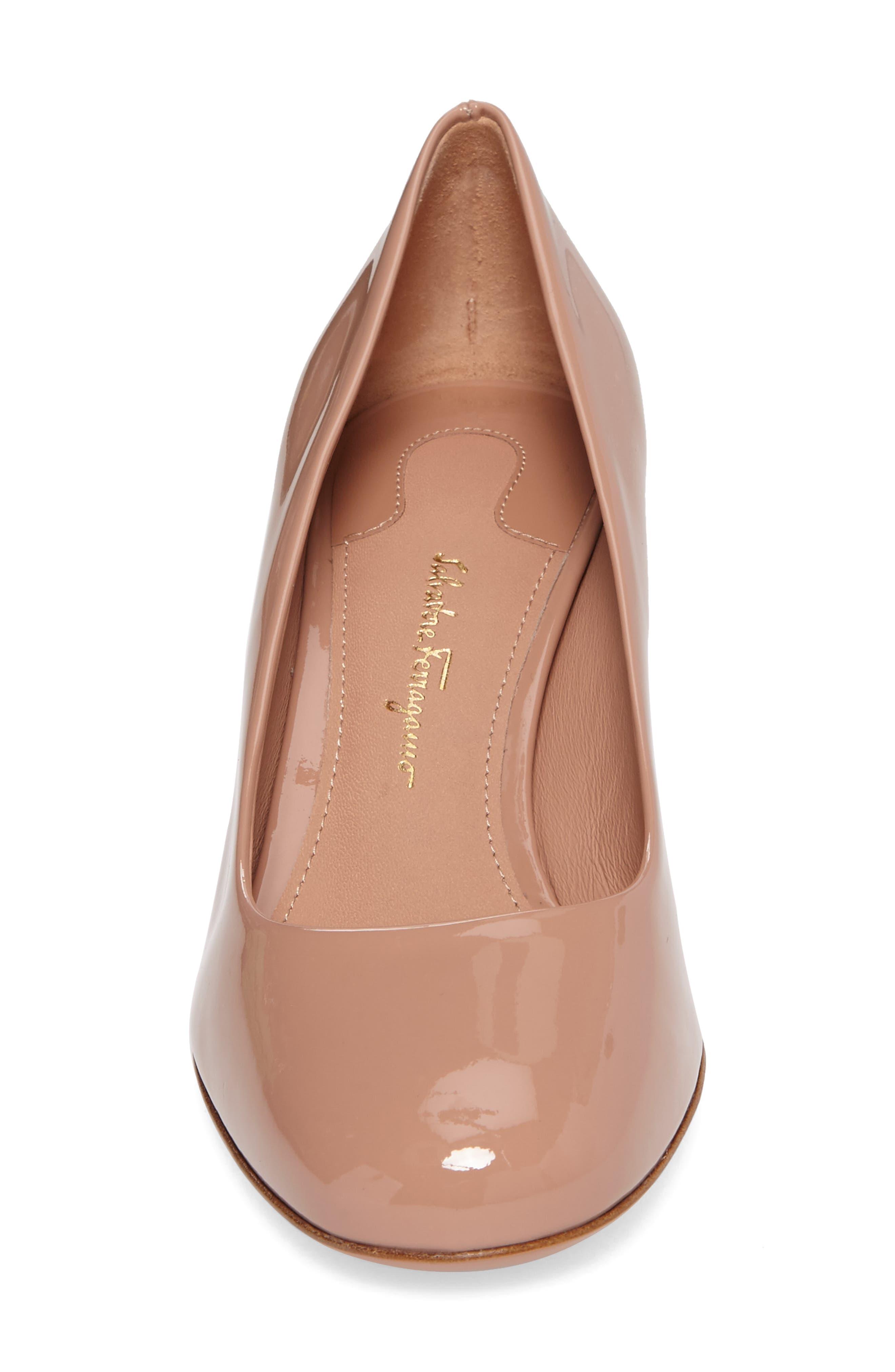 Alternate Image 4  - Salvatore Ferragamo Rounded Toe Flower Heel Pump (Women)