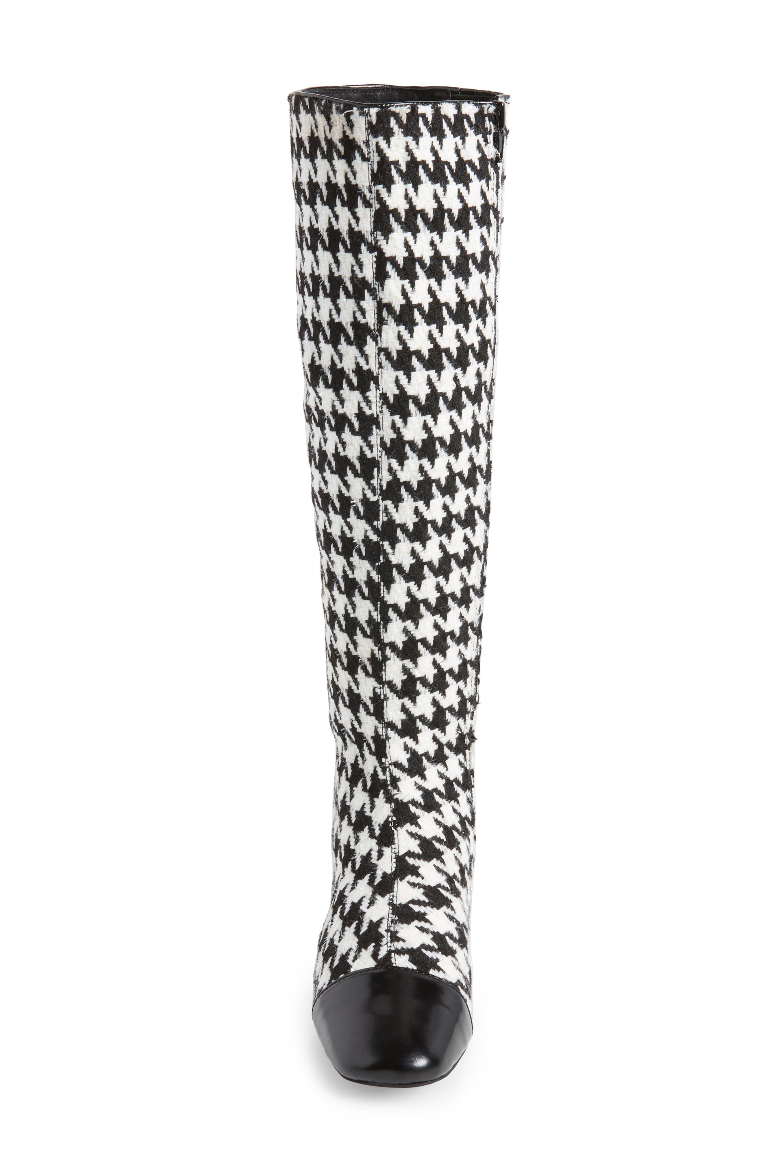 Covey Knee-High Boot,                             Alternate thumbnail 4, color,                             Black White Houndstooth