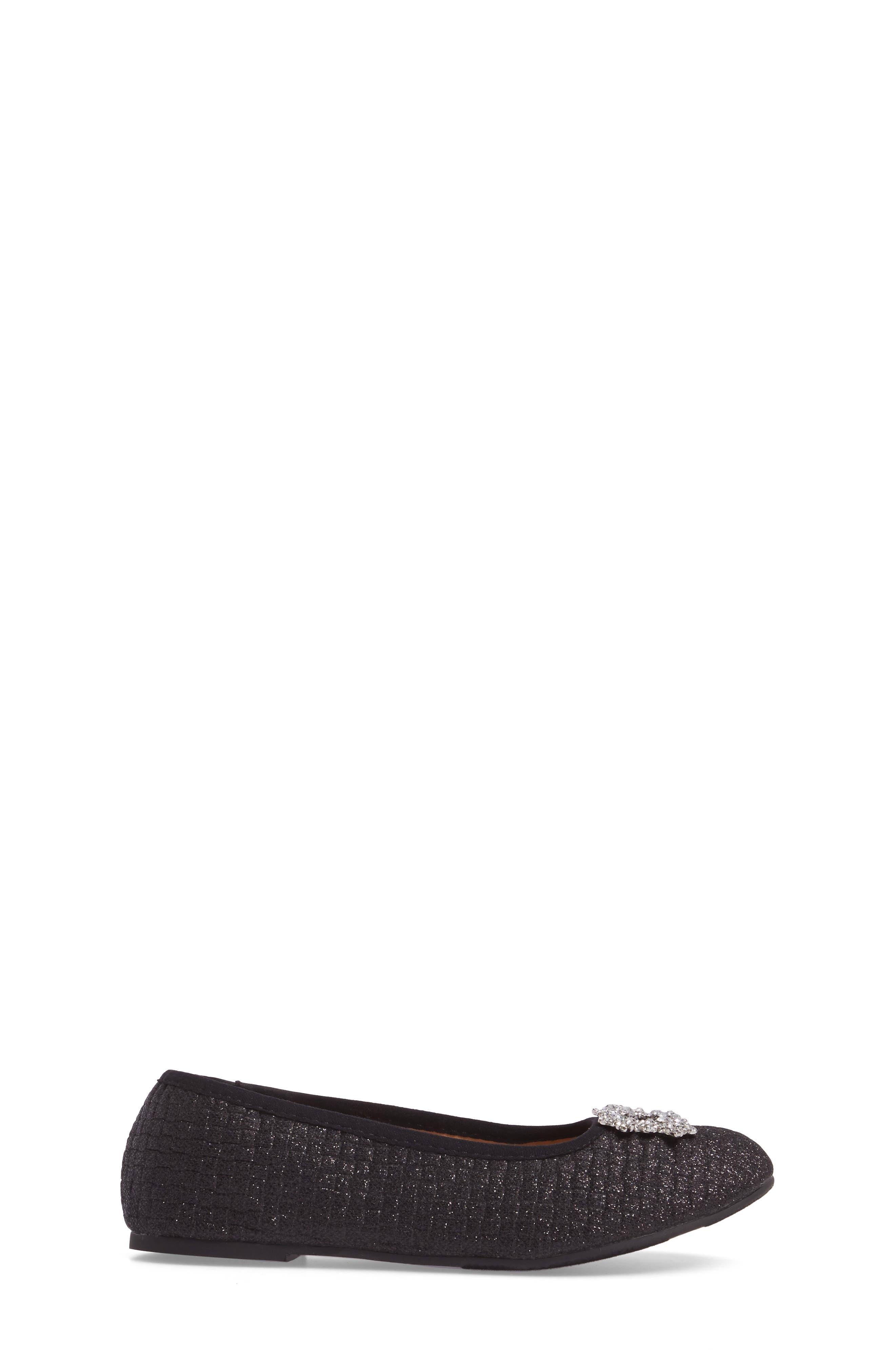 Amber Nidia Embellished Glitter Flat,                             Alternate thumbnail 3, color,                             Black Shimmer