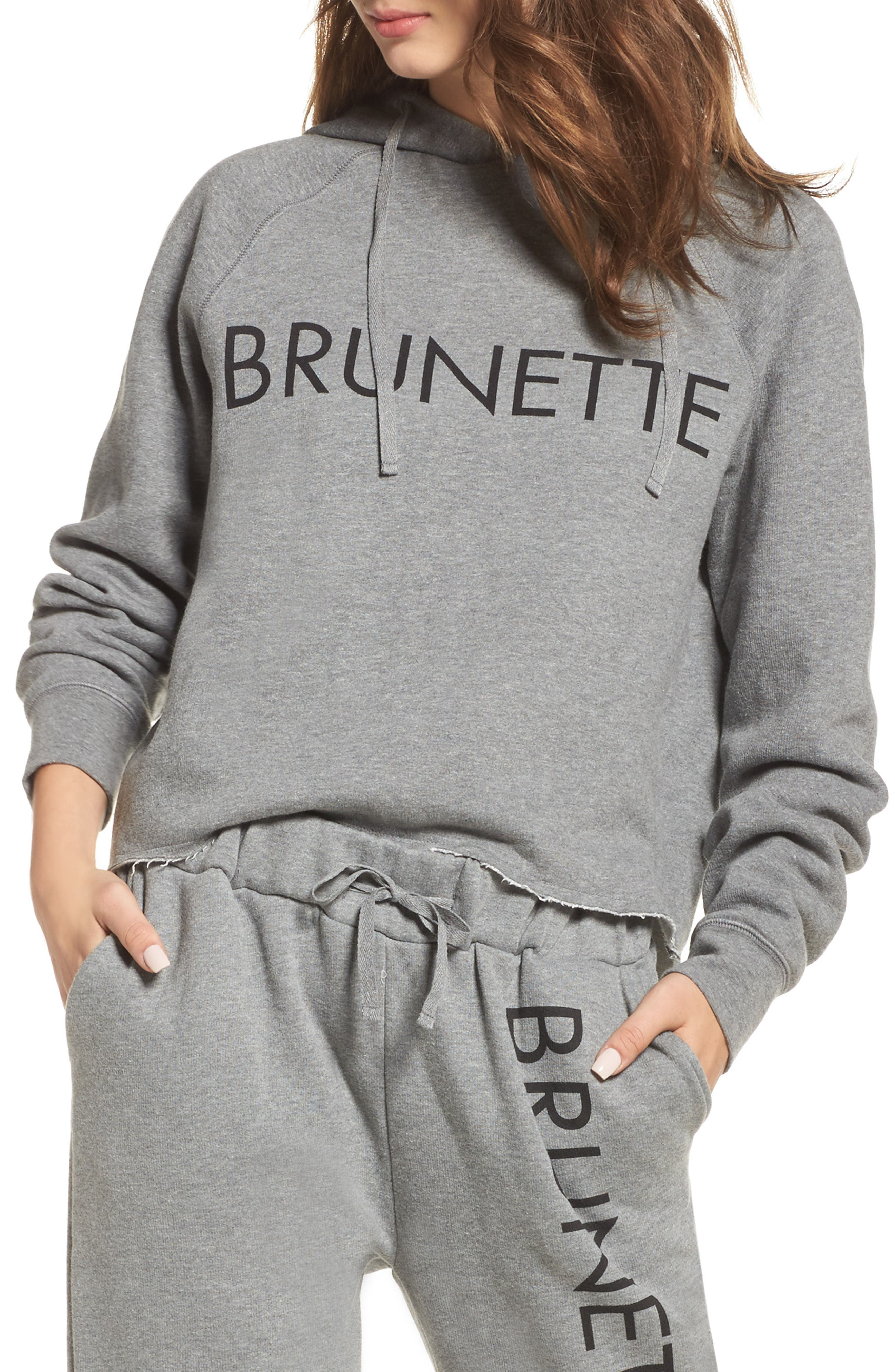 Brunette Raw Hem Hoodie,                         Main,                         color, Heather Grey Brunette