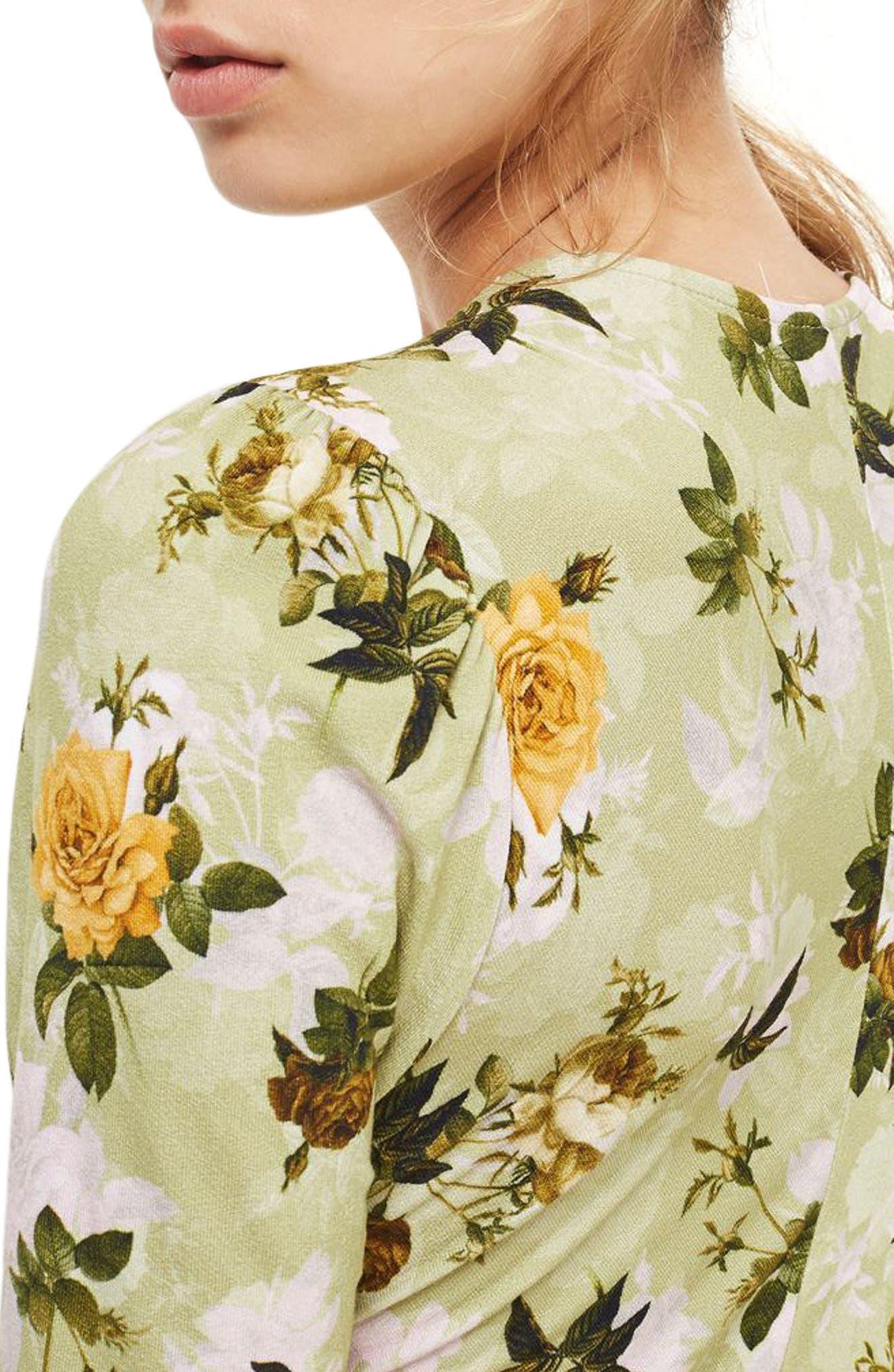 Floral Ruched Asymmetrical Midi Dress,                             Alternate thumbnail 3, color,                             Green Multi