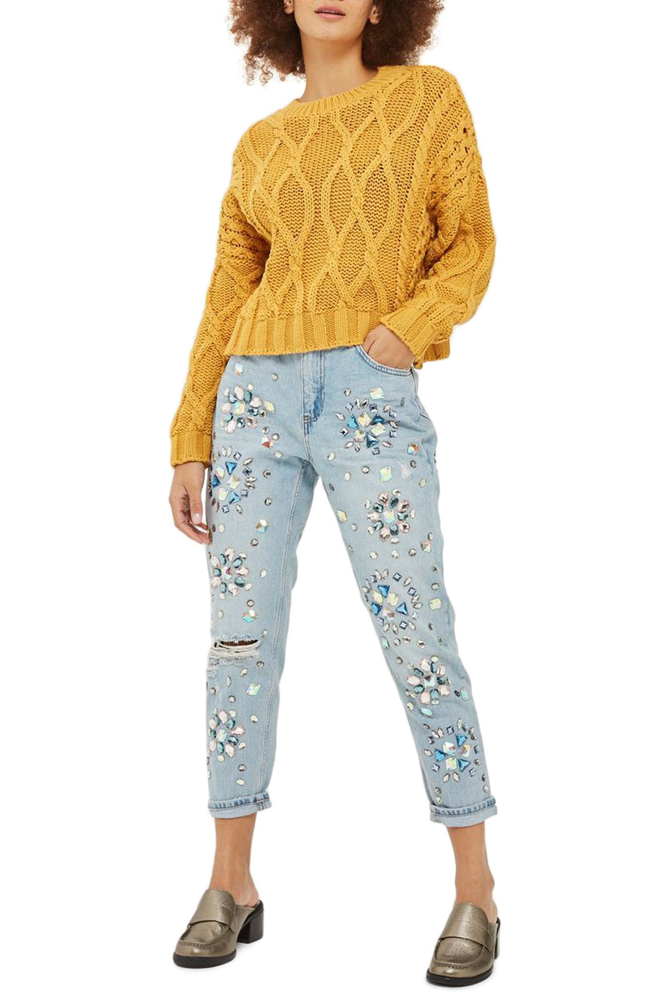 Limited Edition Beaded Mom Jeans,                         Main,                         color, Mid Denim Multi