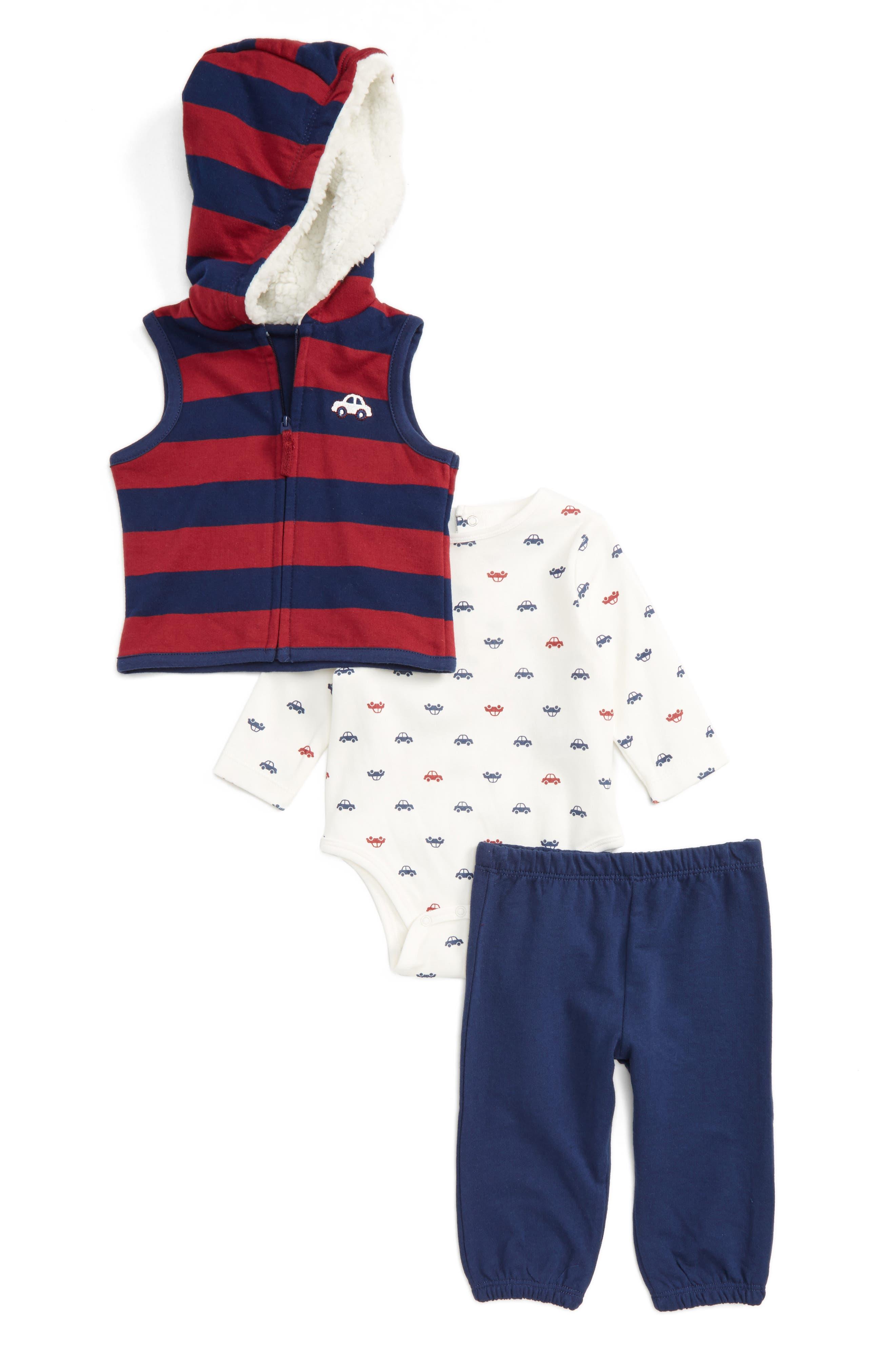 Main Image - Little Me Car Vest, Bodysuit & Pants Set (Baby Boys)