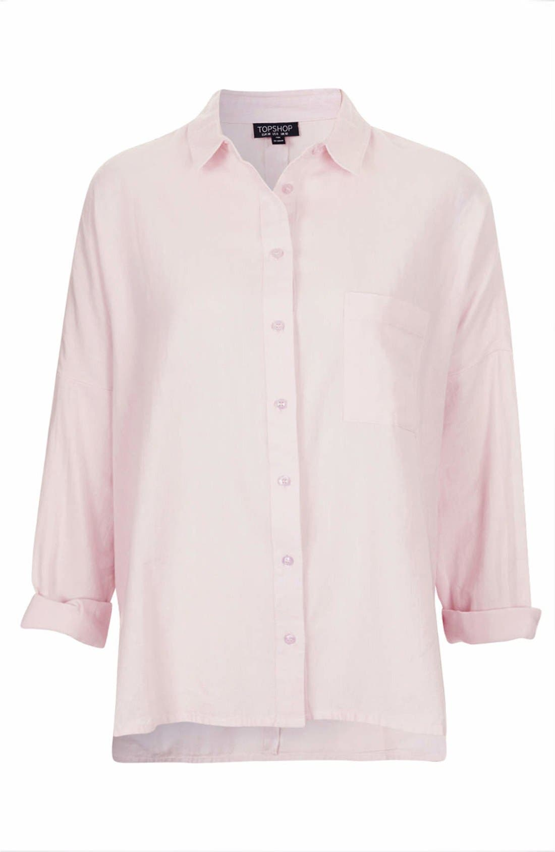 Oversized Chambray Shirt,                             Alternate thumbnail 3, color,                             Pink