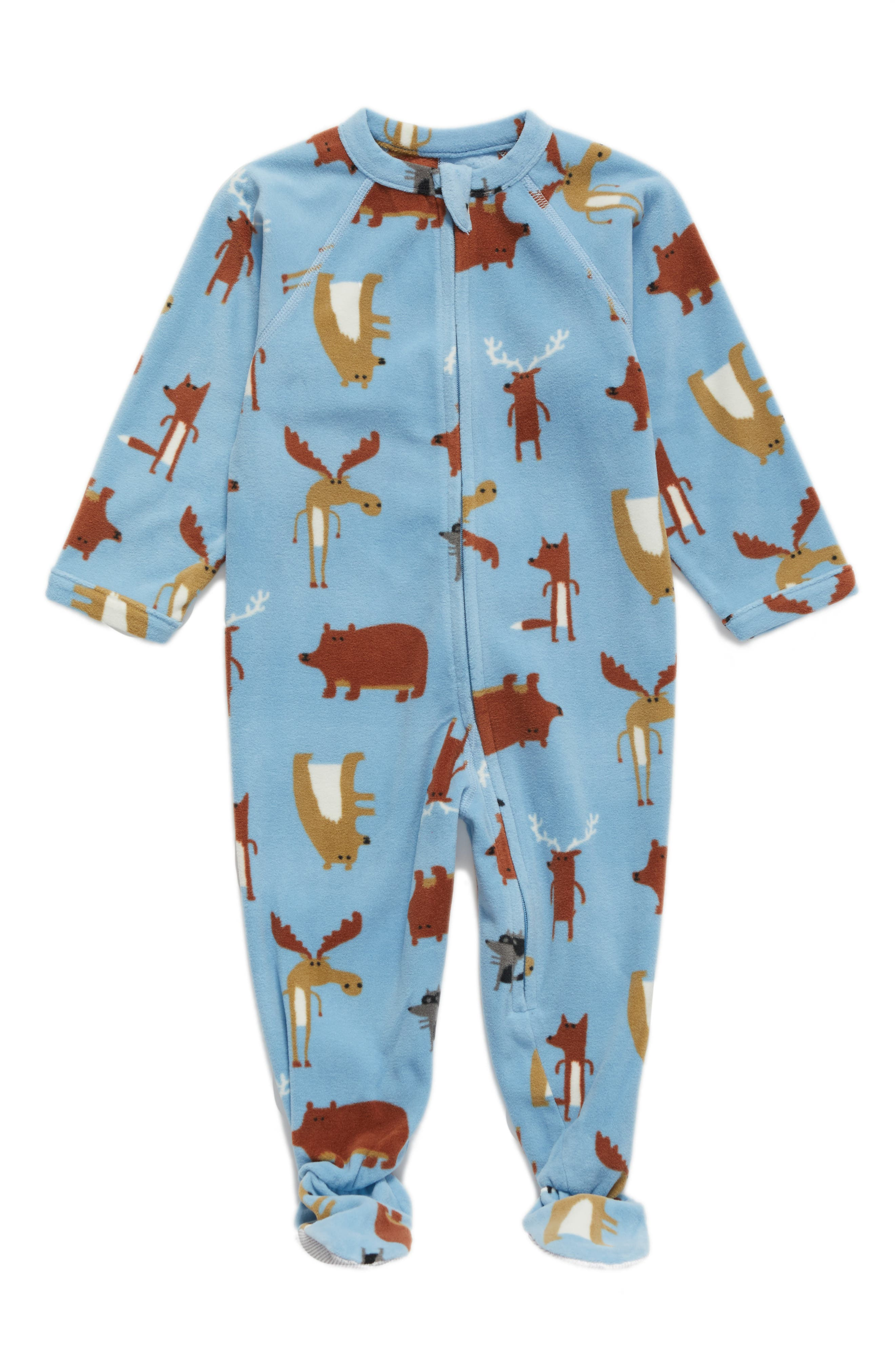 Blanket Sleeper,                             Main thumbnail 1, color,                             Blue Dusk Forest Animals