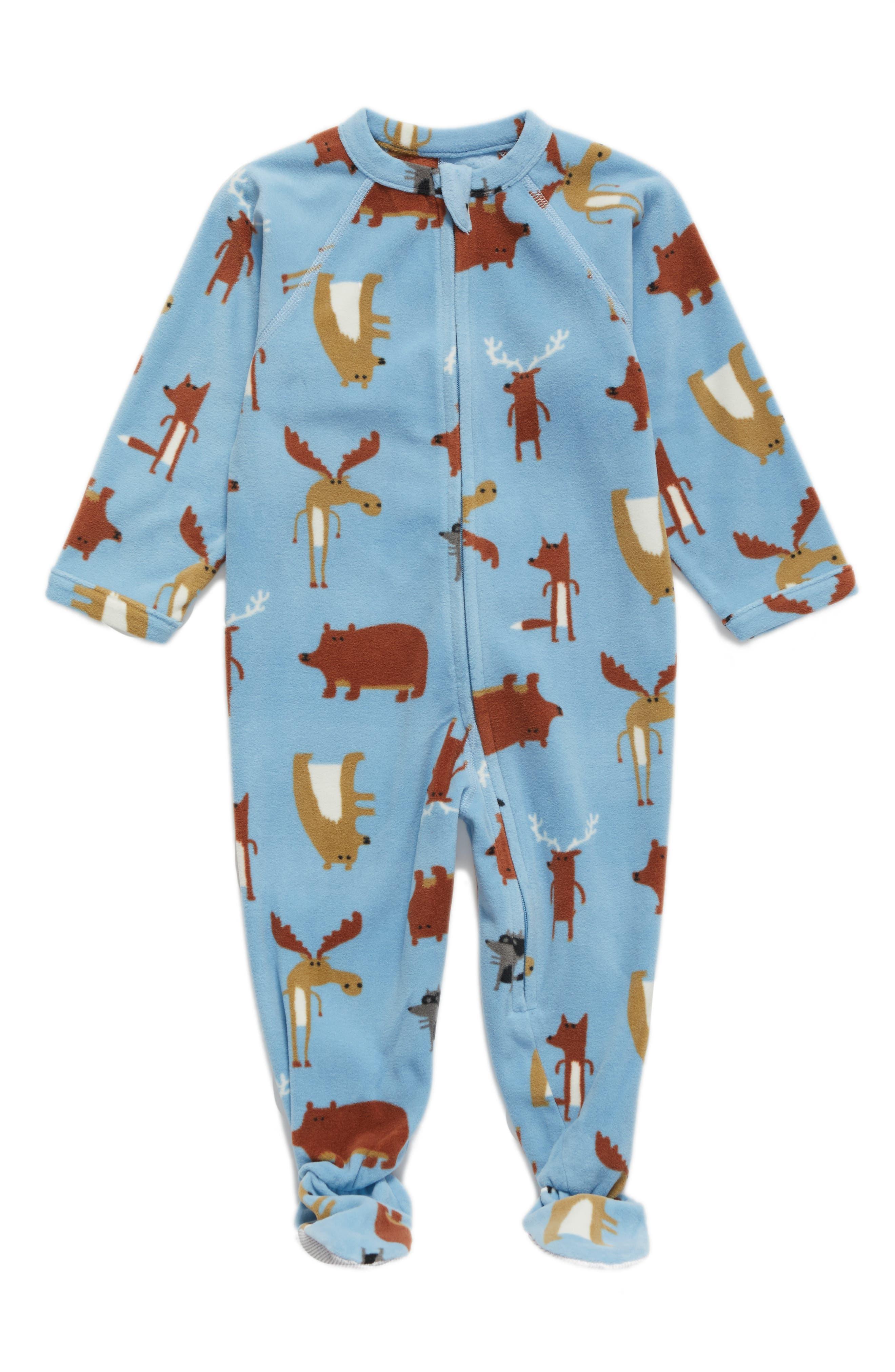 Blanket Sleeper,                         Main,                         color, Blue Dusk Forest Animals