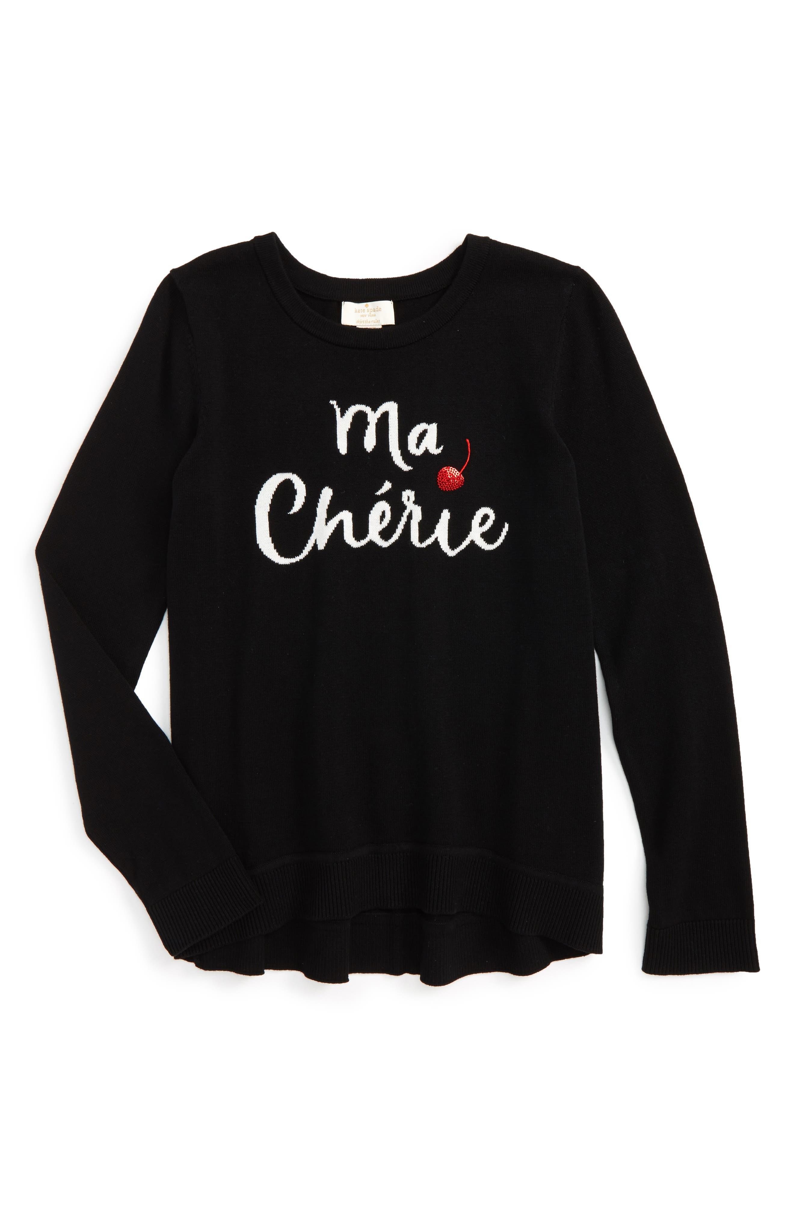 Alternate Image 1 Selected - kate spade new york ma cherie intasrsia sweater (Big Girls)