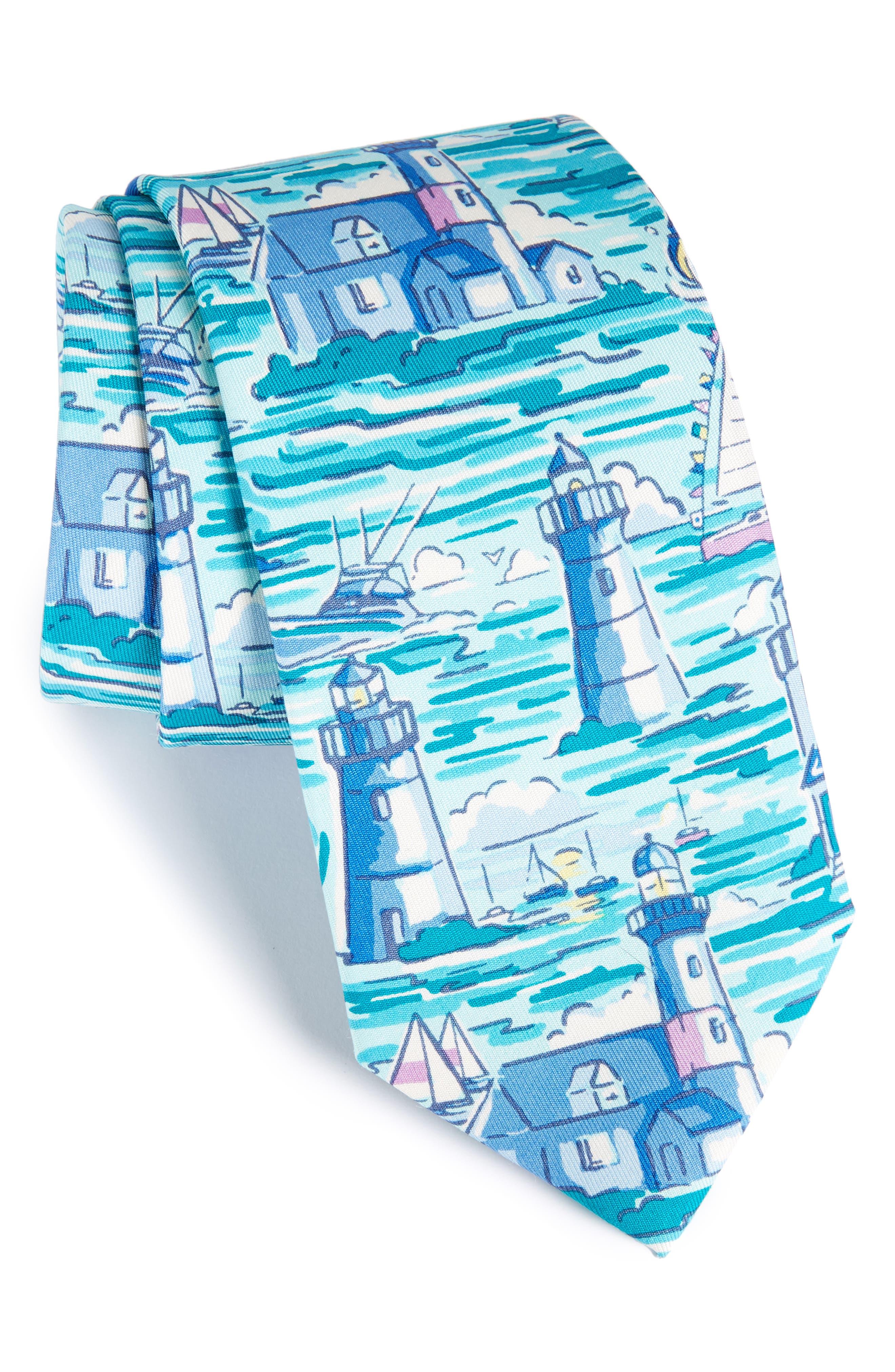 Lighthouse Silk Tie,                             Main thumbnail 1, color,                             Blue Multi