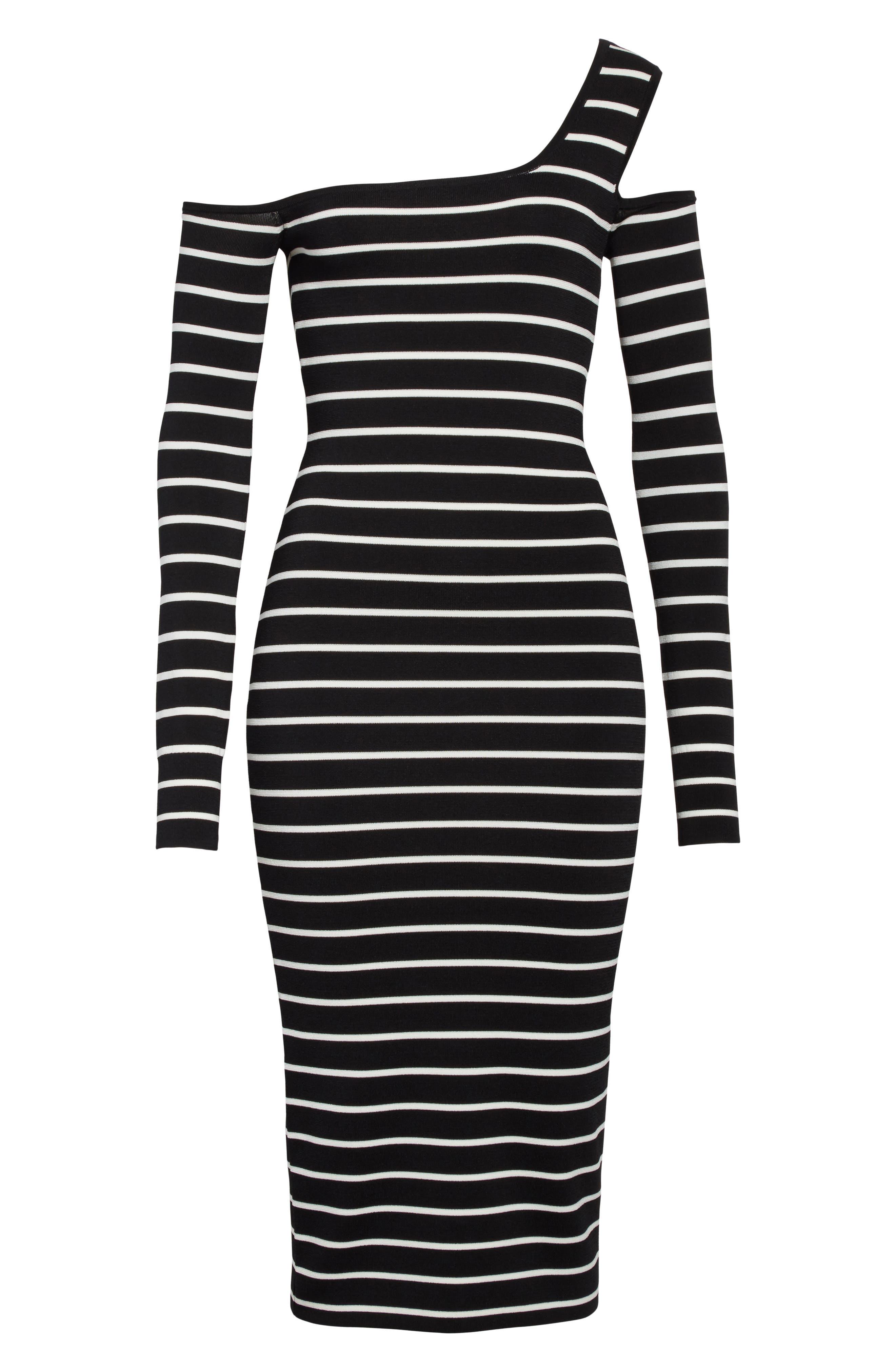 Emerald One-Shoulder Dress,                             Alternate thumbnail 6, color,                             Black/ White
