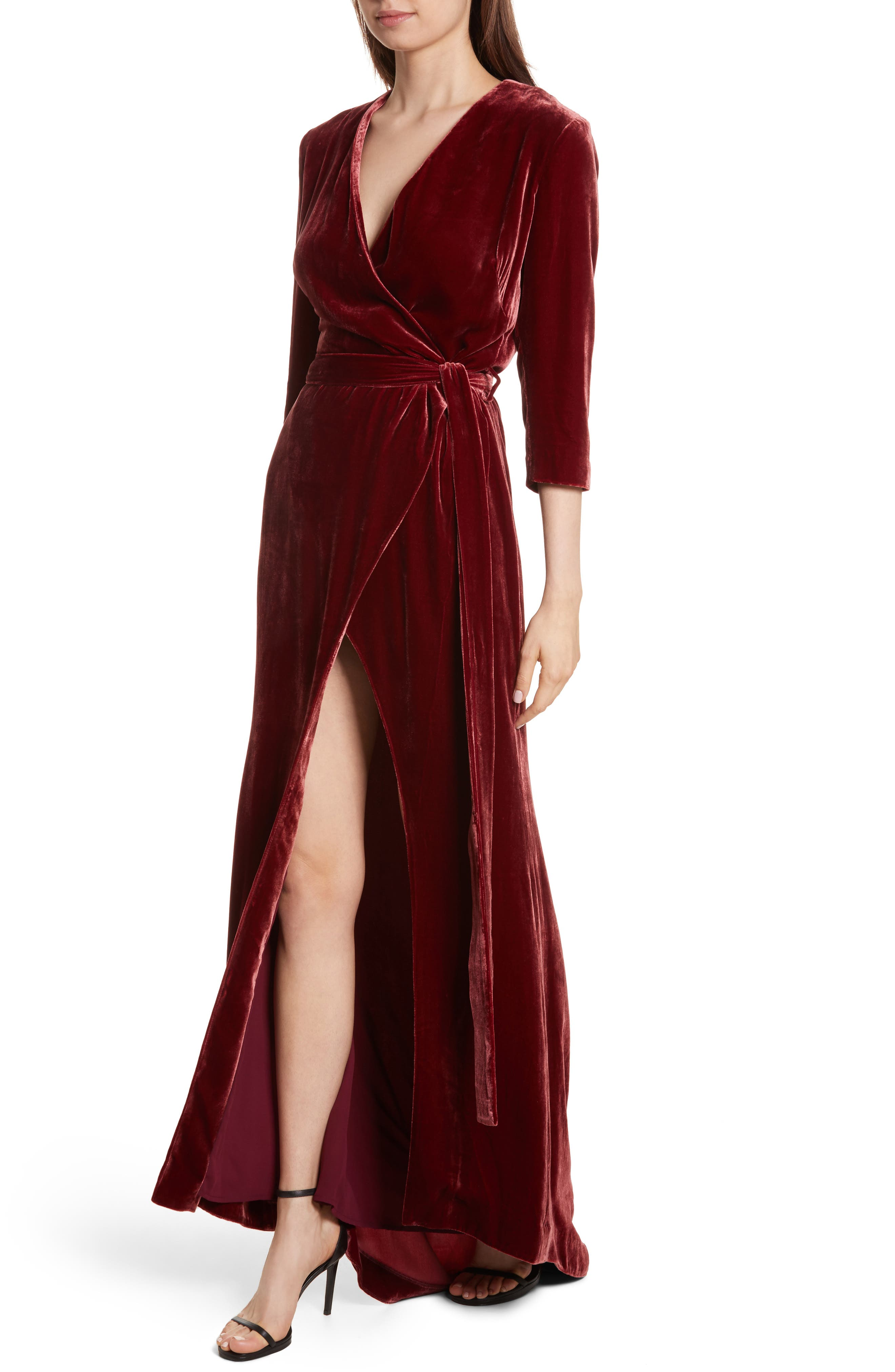 Rosalind Velvet Maxi Wrap Dress,                             Alternate thumbnail 3, color,                             Ruby