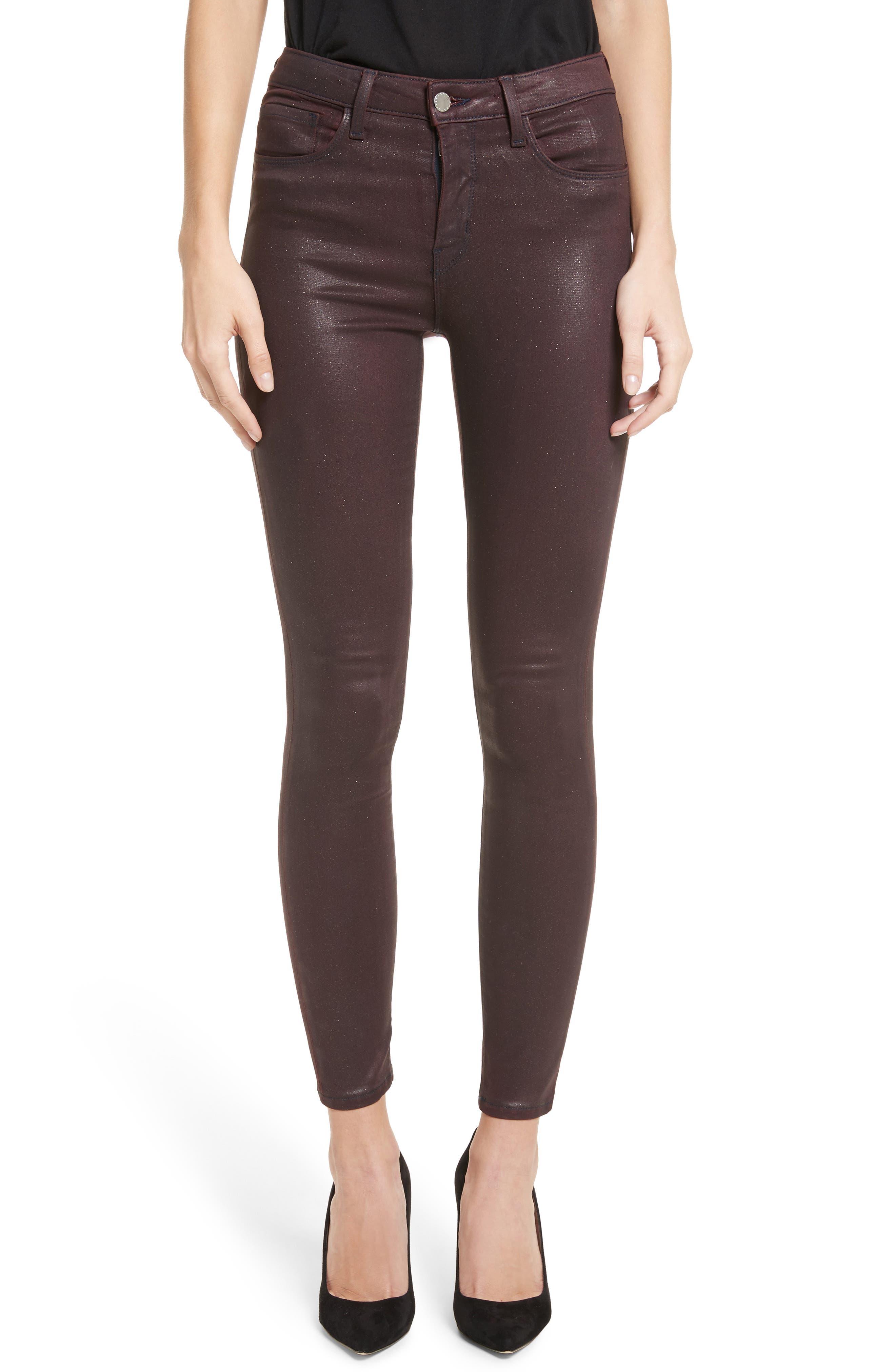 Margot High Waist Glitter Coated Jeans,                         Main,                         color, Bordeaux Glitter Coated
