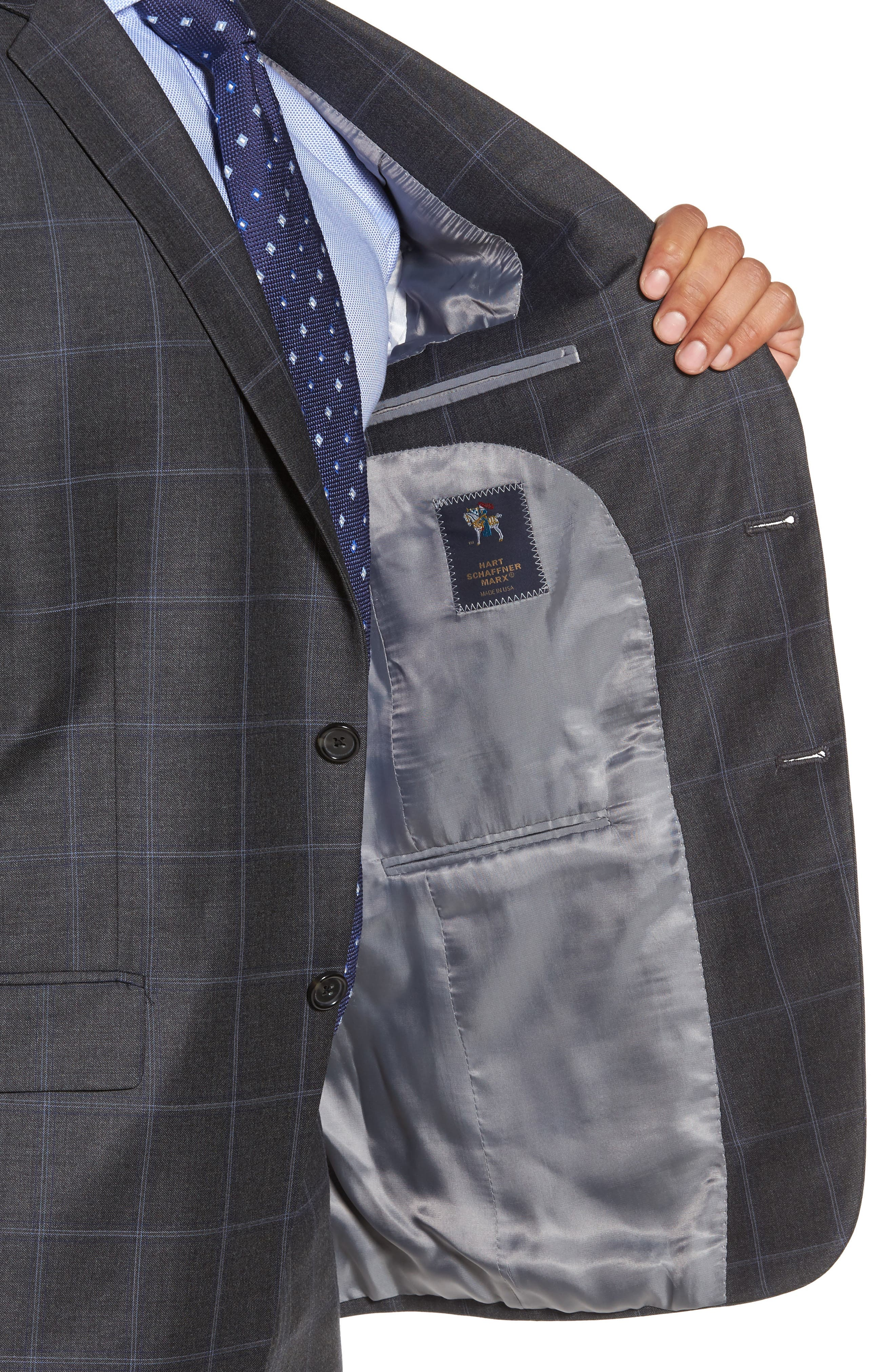 Classic Fit Plaid Wool Suit,                             Alternate thumbnail 4, color,                             Dark Grey