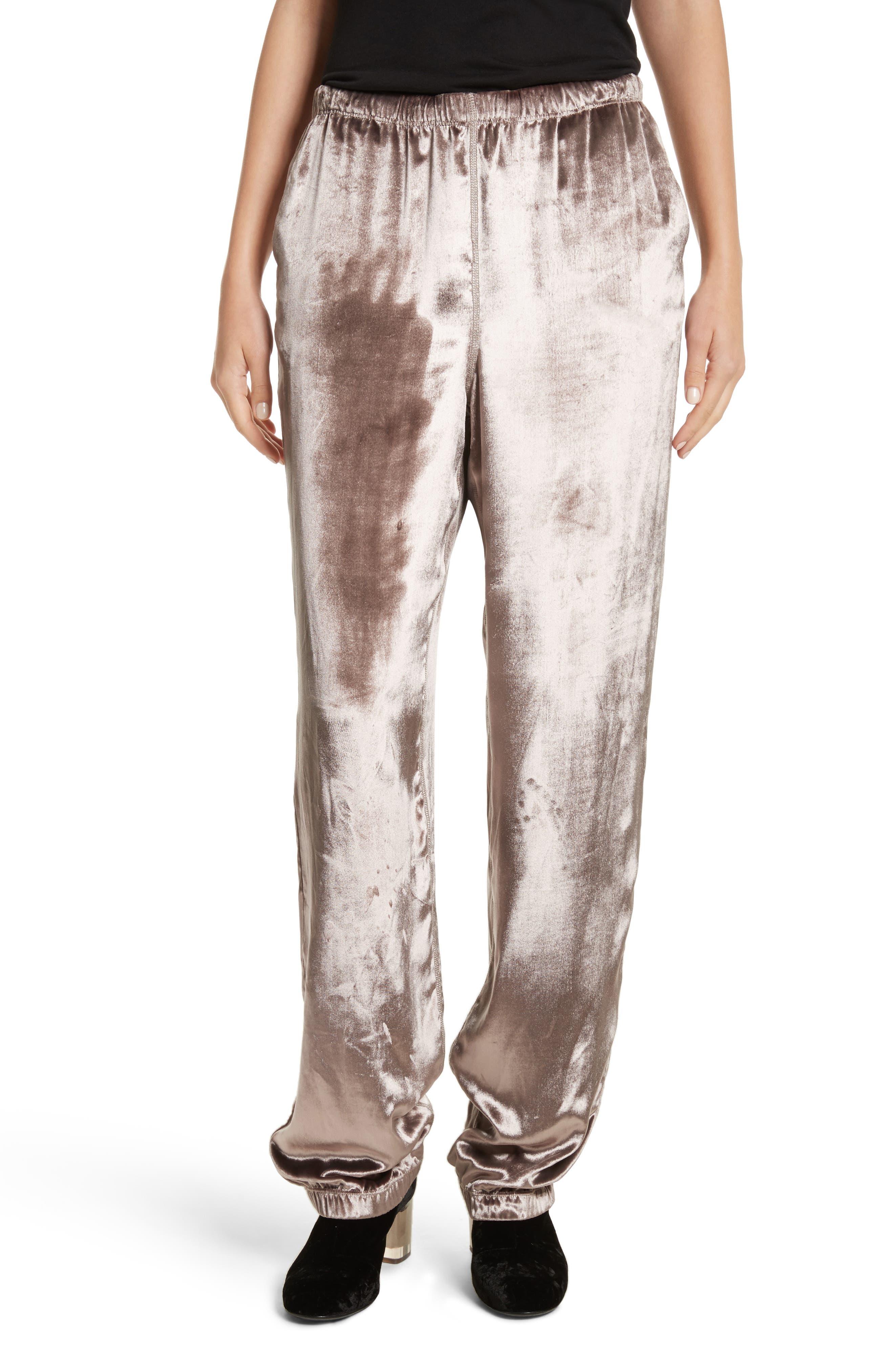 Crushed Velvet Track Pants,                         Main,                         color, Mauve