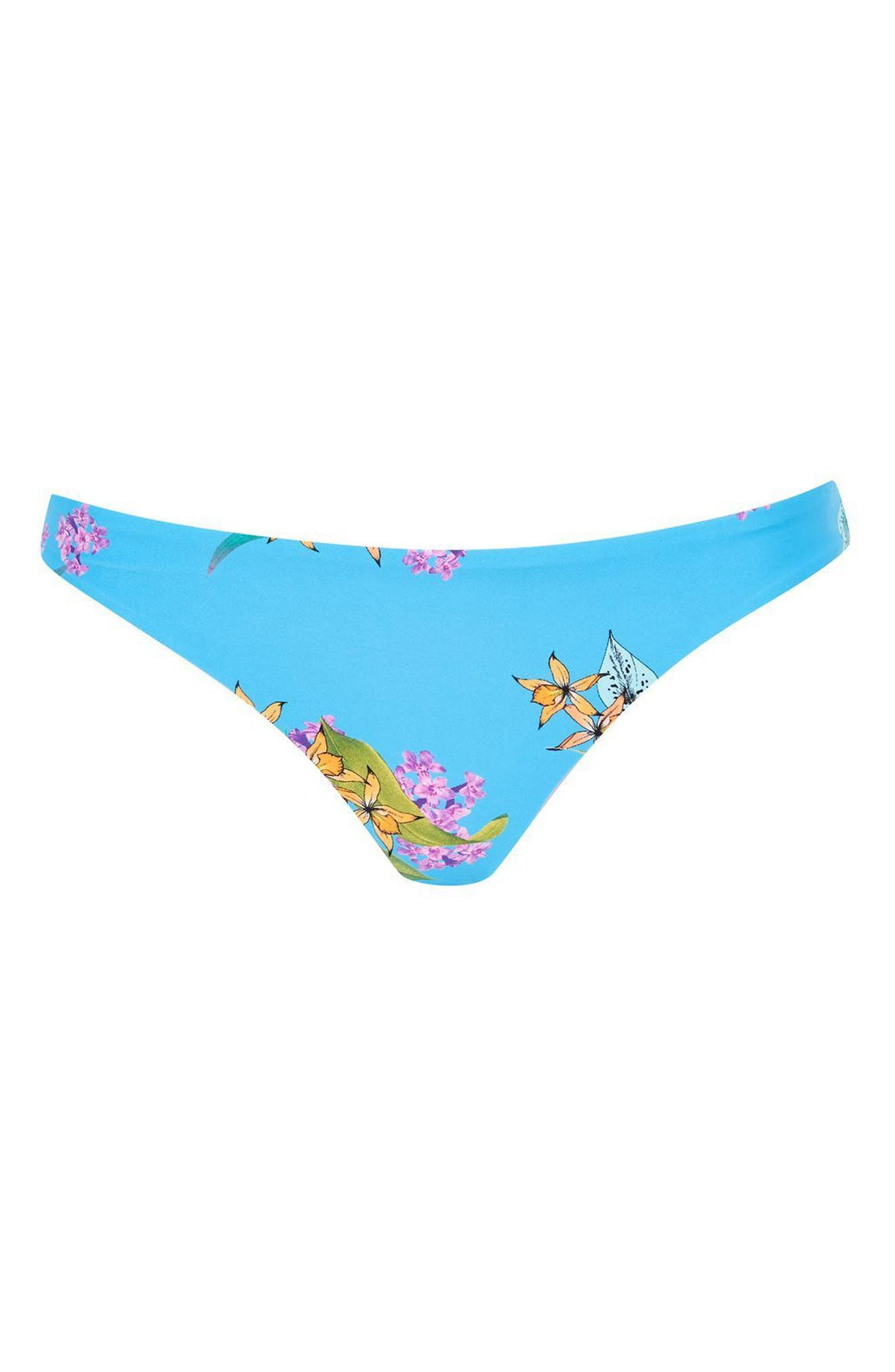 Tropical Print Bikini Bottoms,                             Alternate thumbnail 3, color,                             Blue Multi