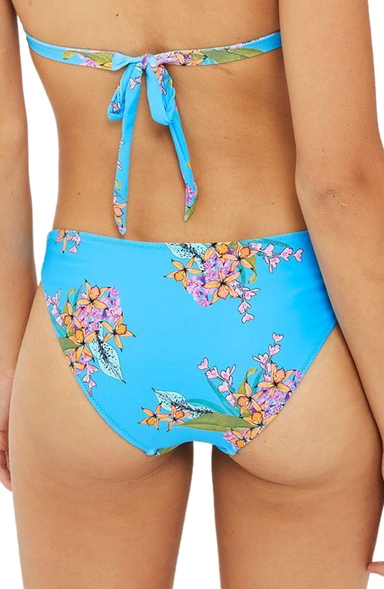 Tropical Print Bikini Bottoms,                             Alternate thumbnail 2, color,                             Blue Multi