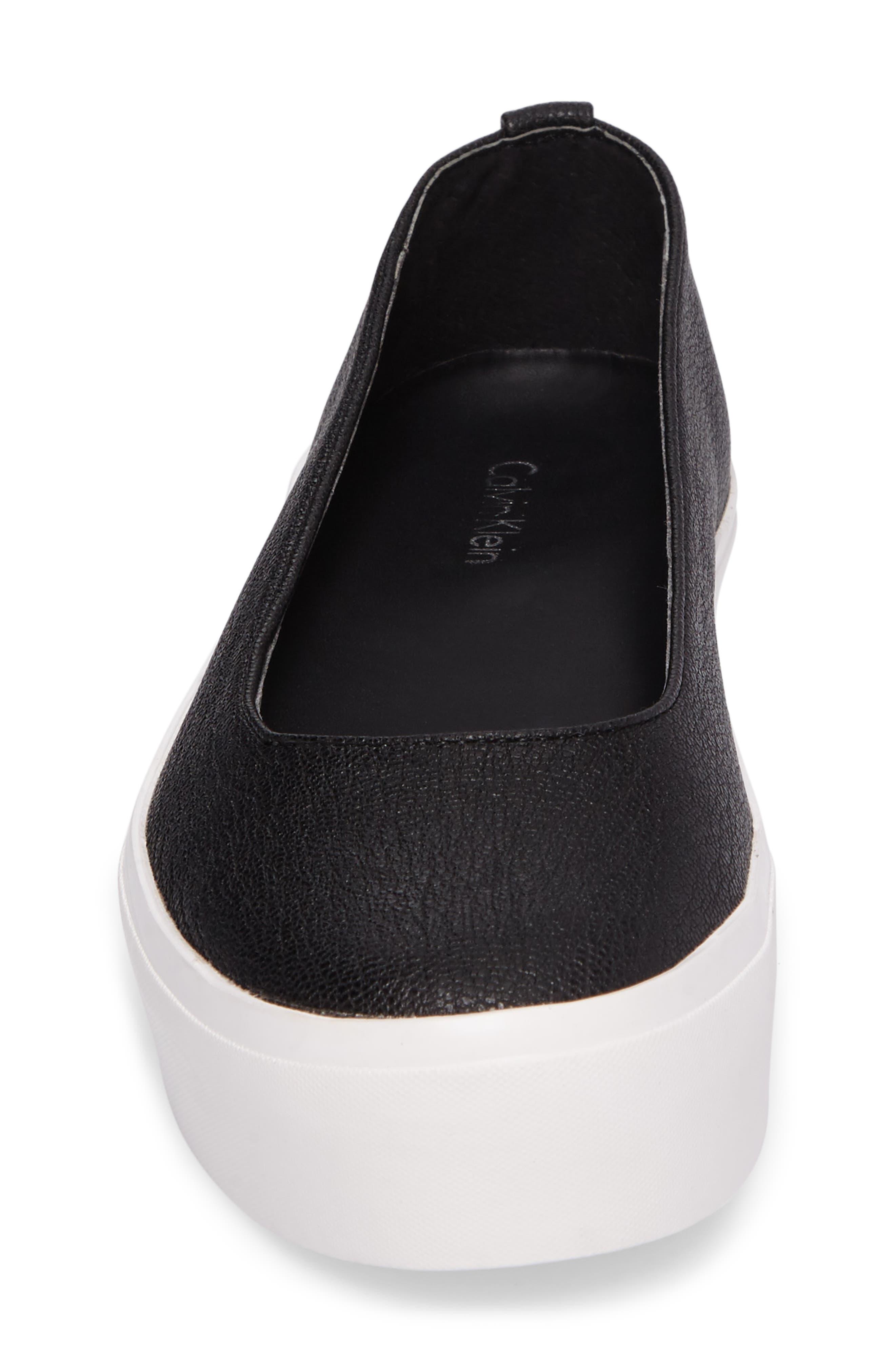 Janie Platform Flat,                             Alternate thumbnail 4, color,                             Black Pebble Leather