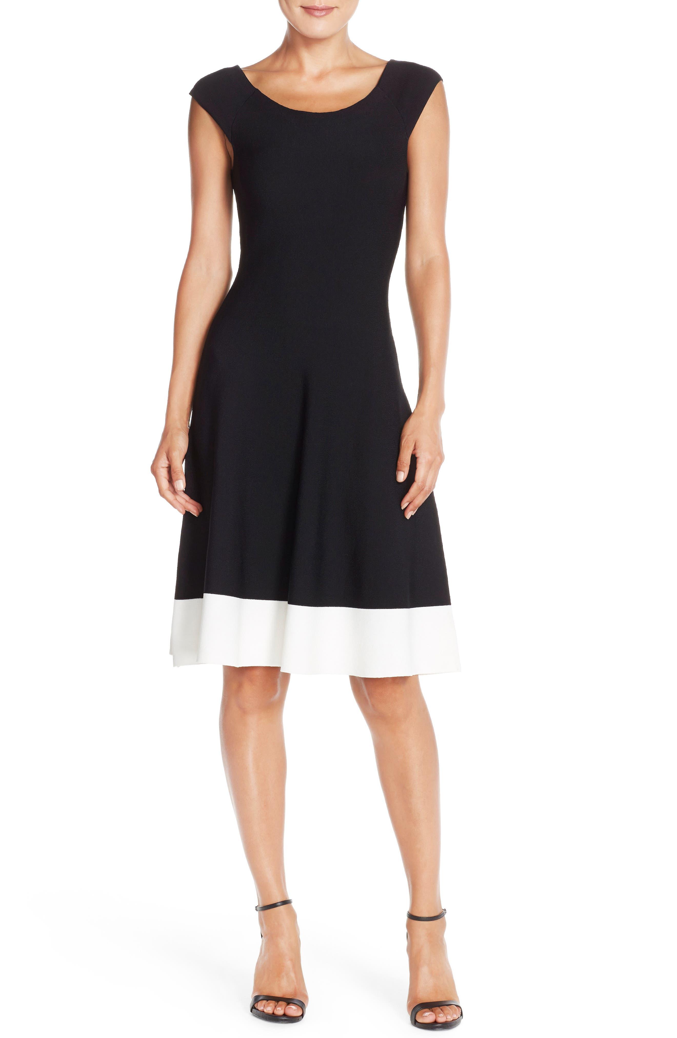 Colorblock Fit & Flare Sweater Dress,                             Alternate thumbnail 4, color,                             Black/ Ivory