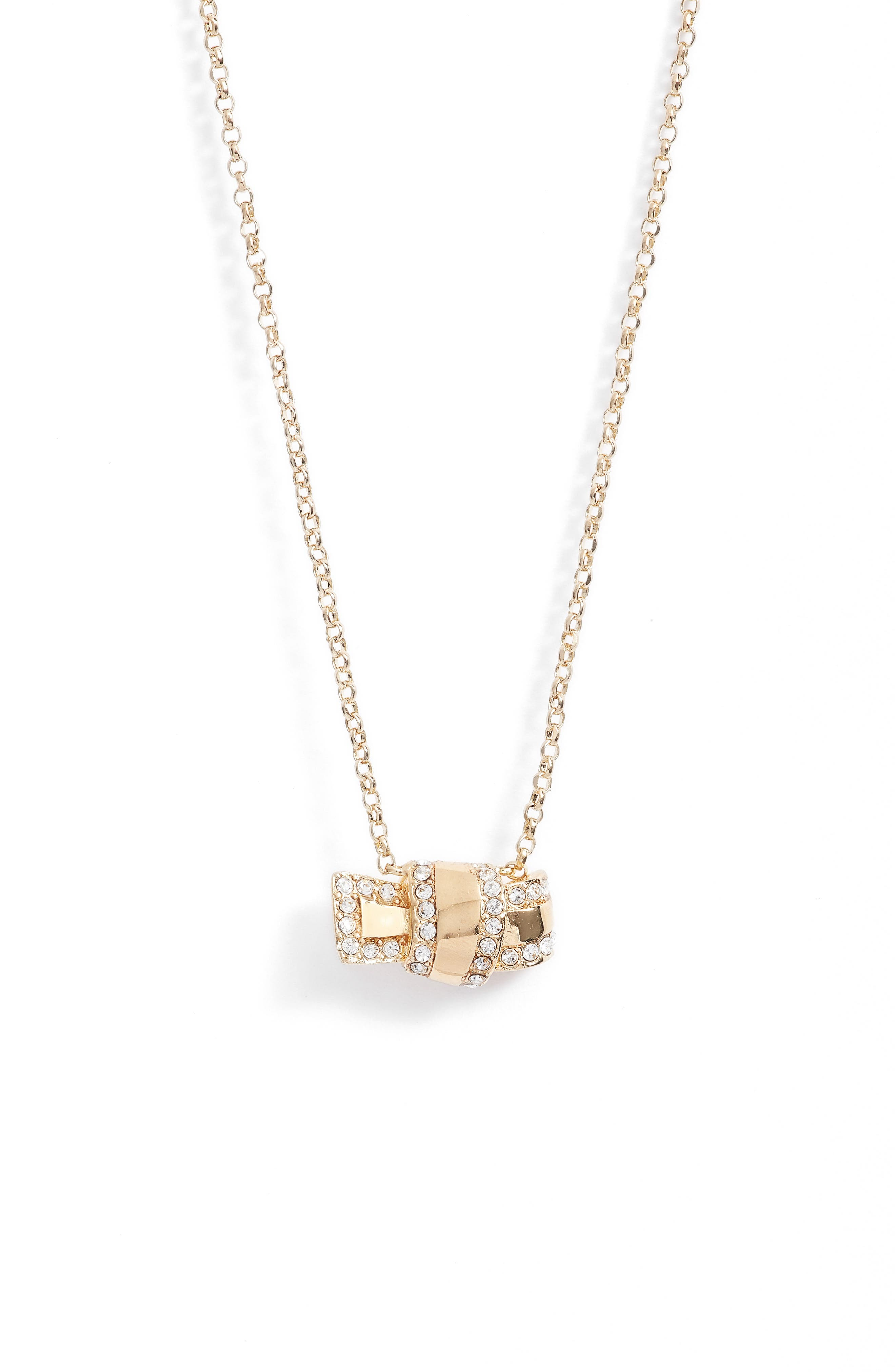 all tied up pavé pendant necklace,                         Main,                         color, Clear/ Gold