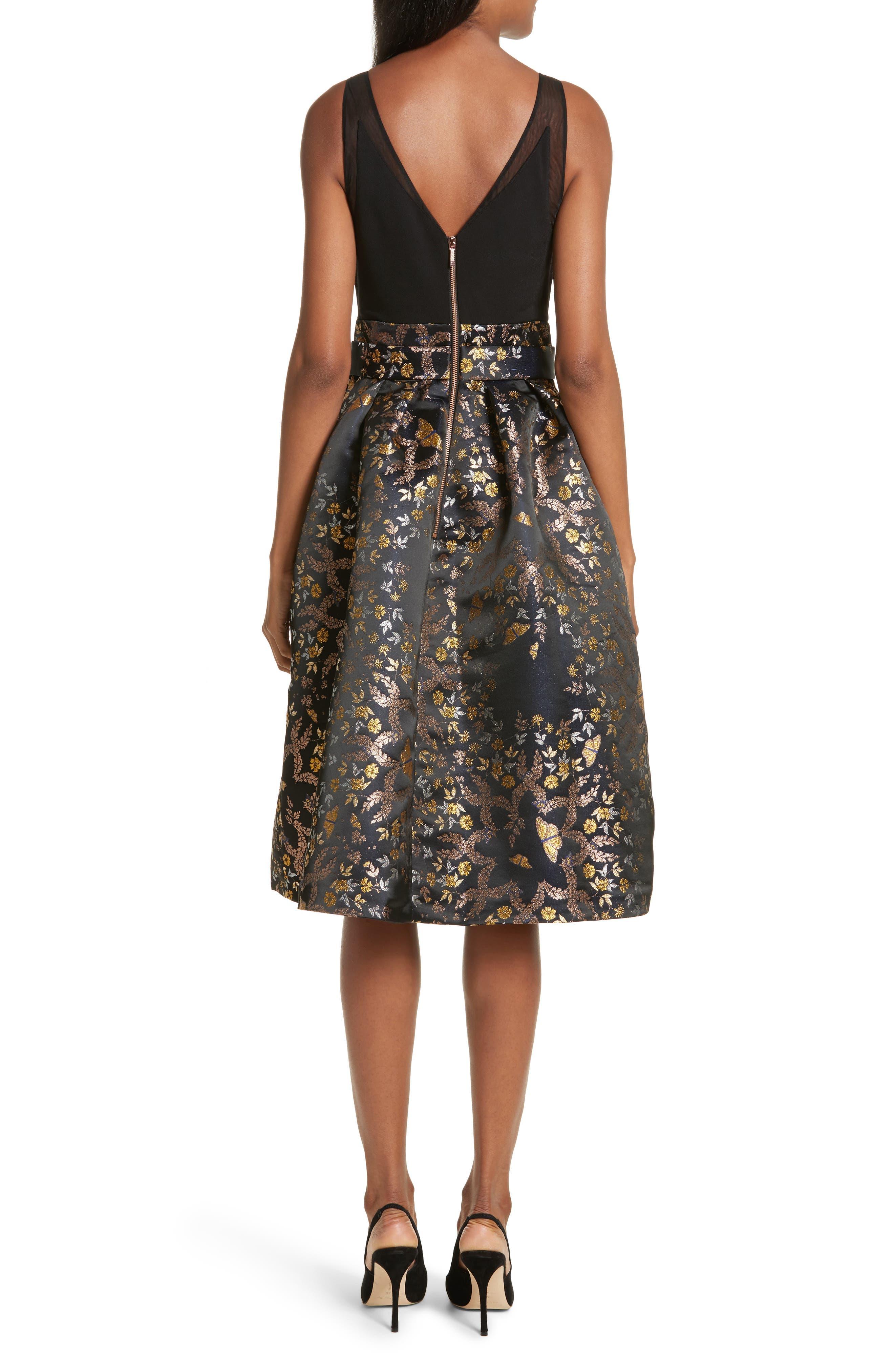 Dotalle Kyoto Garden Jacquard Midi Dress,                             Alternate thumbnail 2, color,                             Black