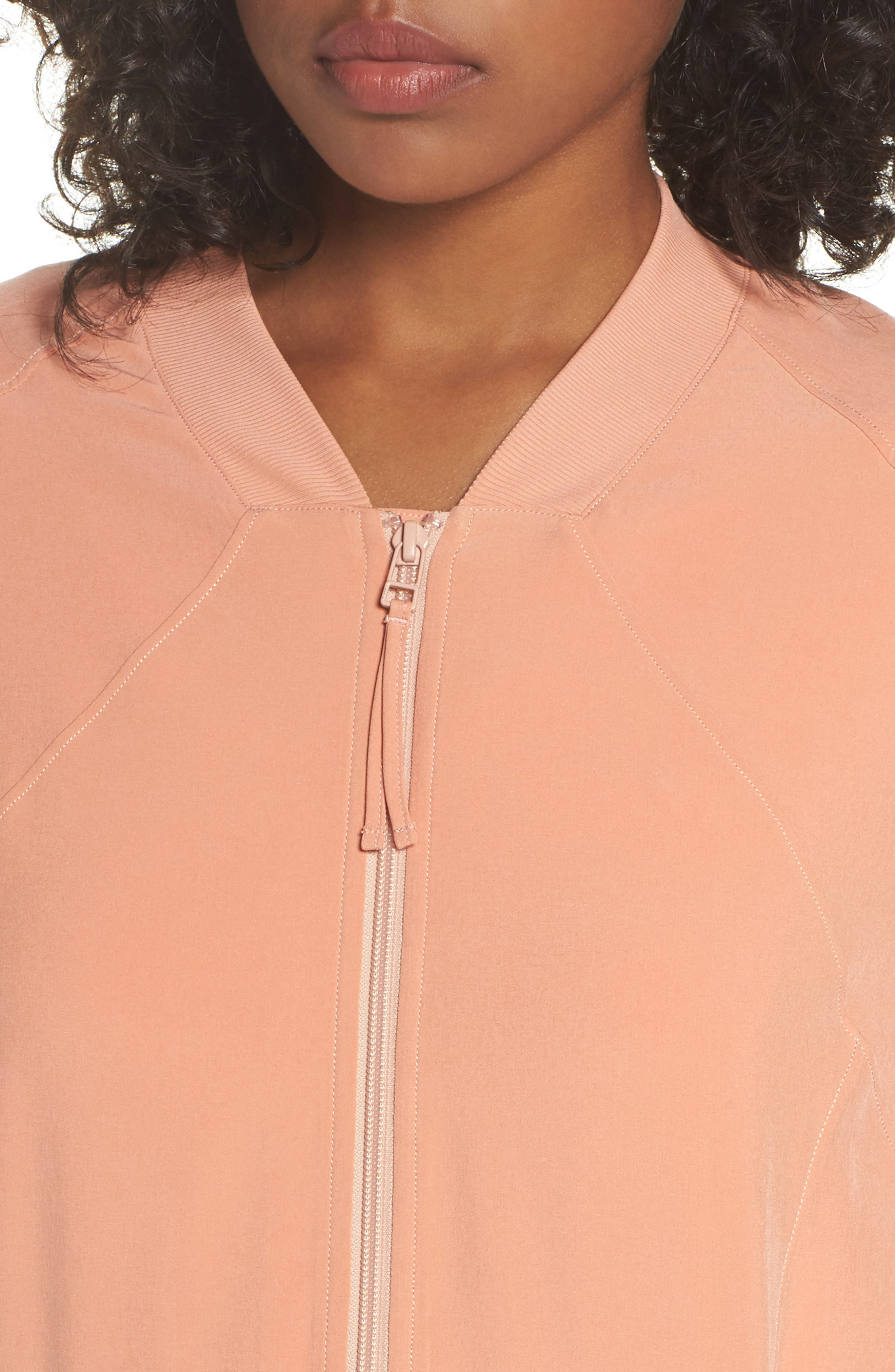 Long Bomber Jacket,                             Alternate thumbnail 4, color,                             Coral Muted