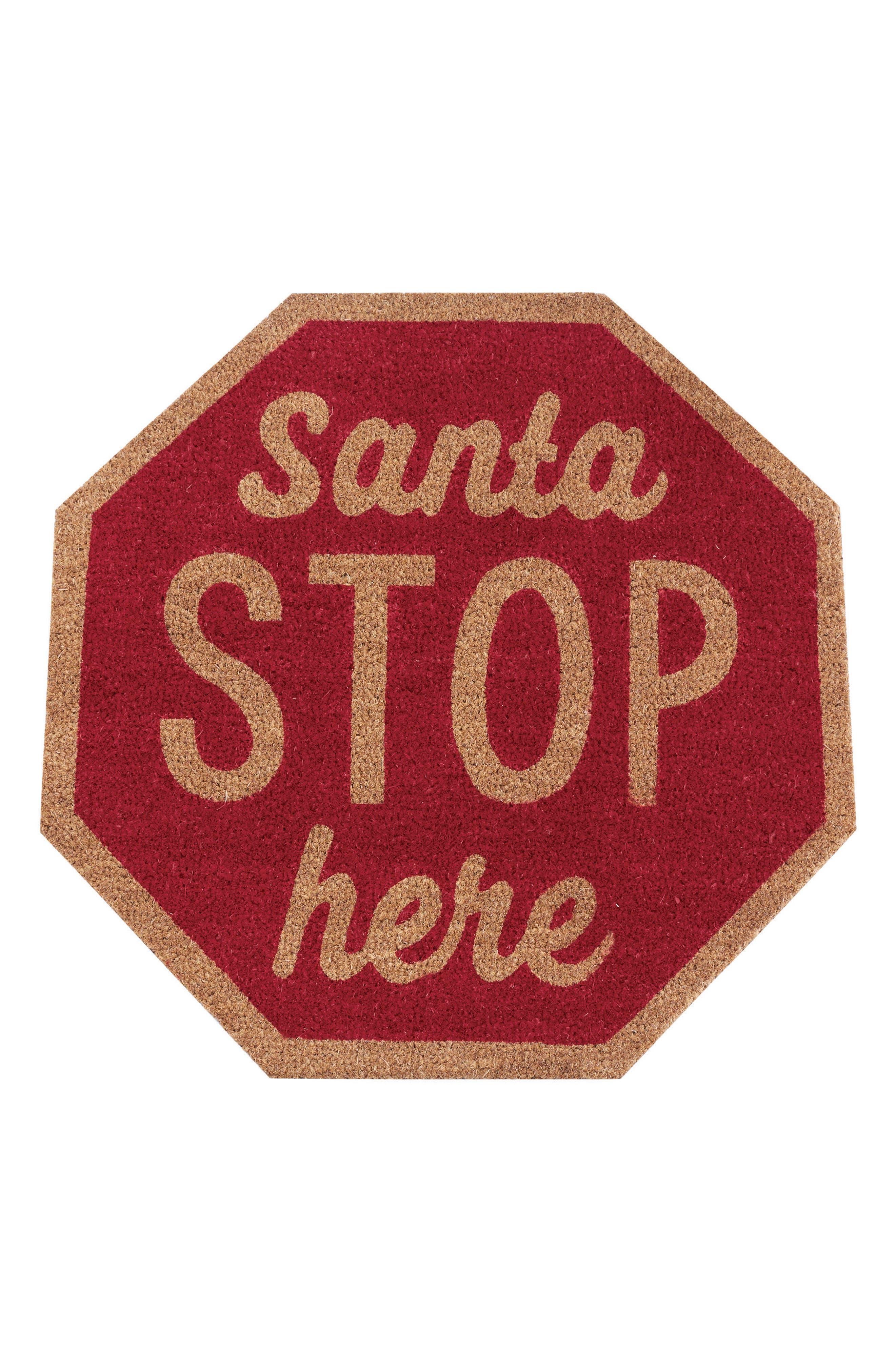 Santa Stop Here Coir Door Mat,                             Main thumbnail 1, color,                             Red