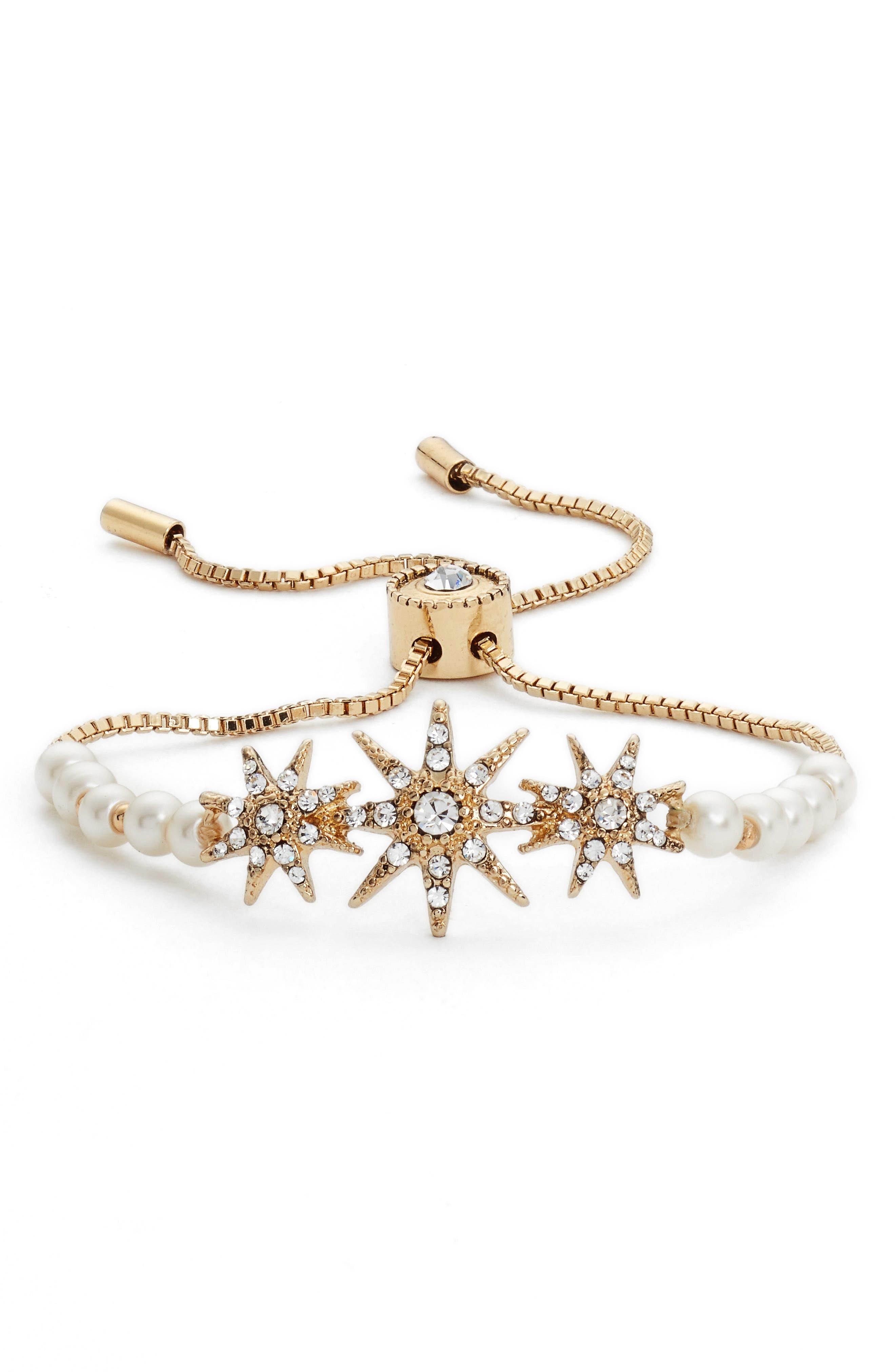 Star Adjustable Bracelet,                         Main,                         color, Pearl/ Cry/ Gold