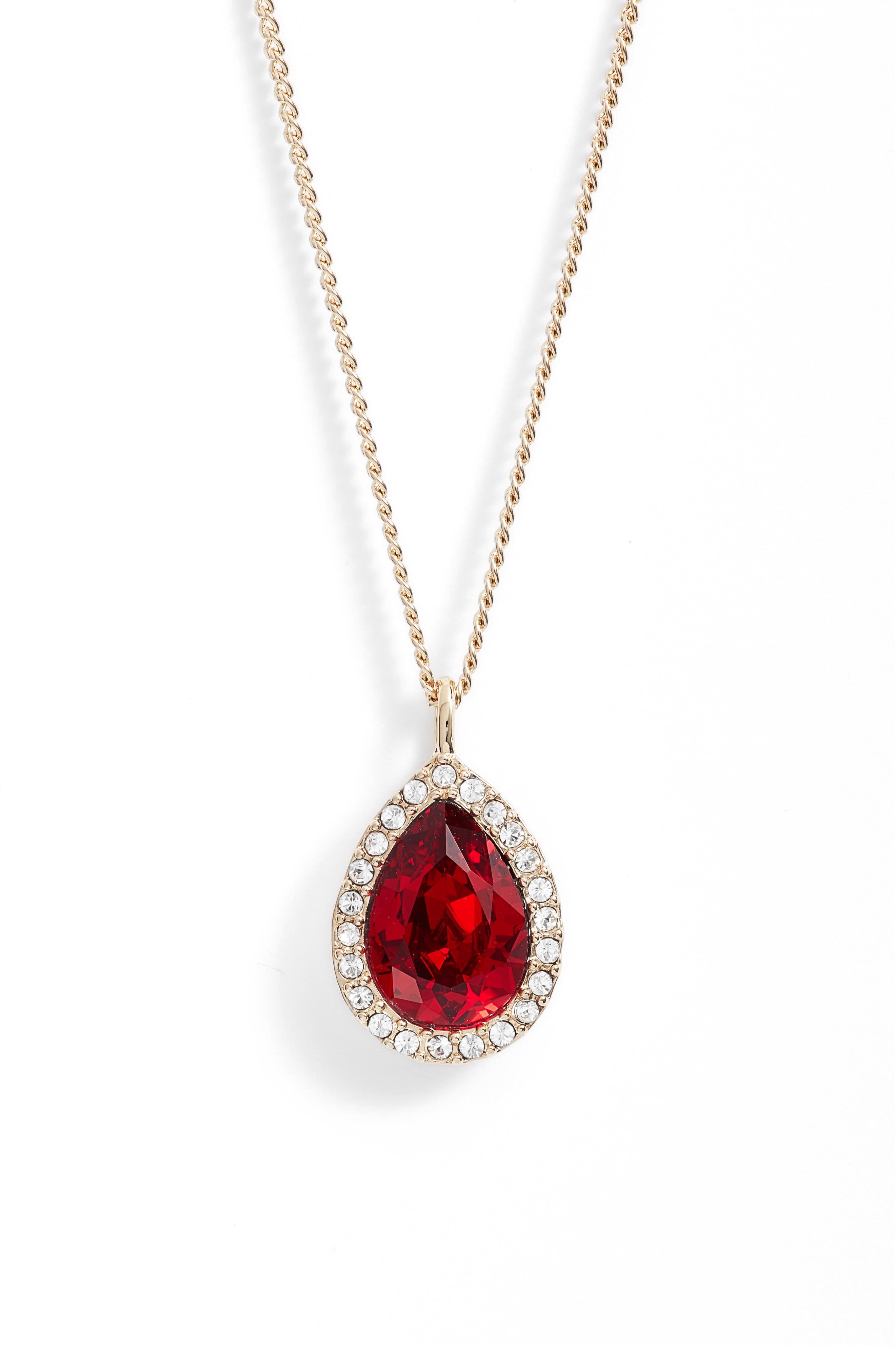 Givenchy Pavé Pear Pendant Necklace