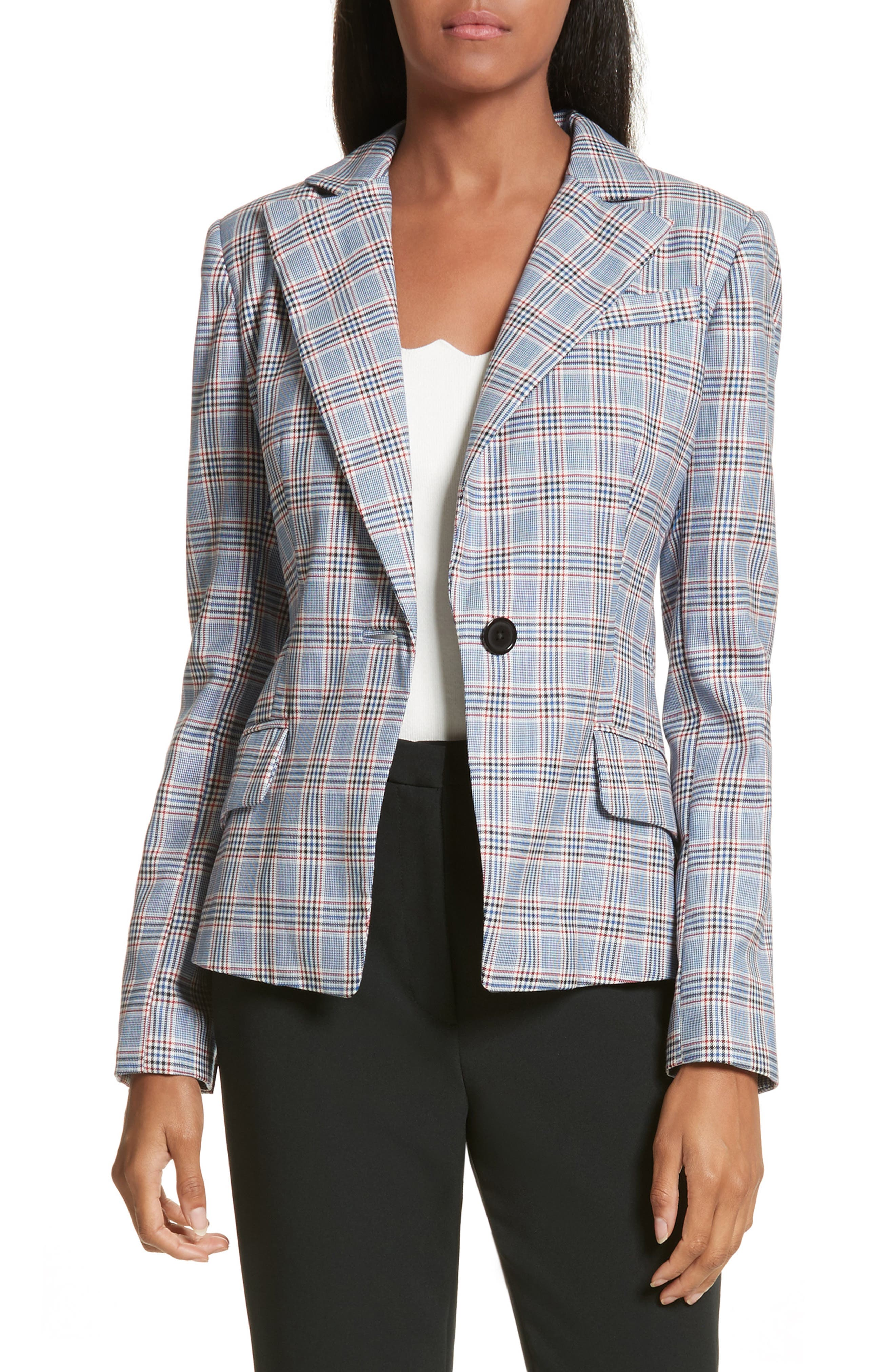 Check Suiting Belted Blazer,                         Main,                         color, Multi