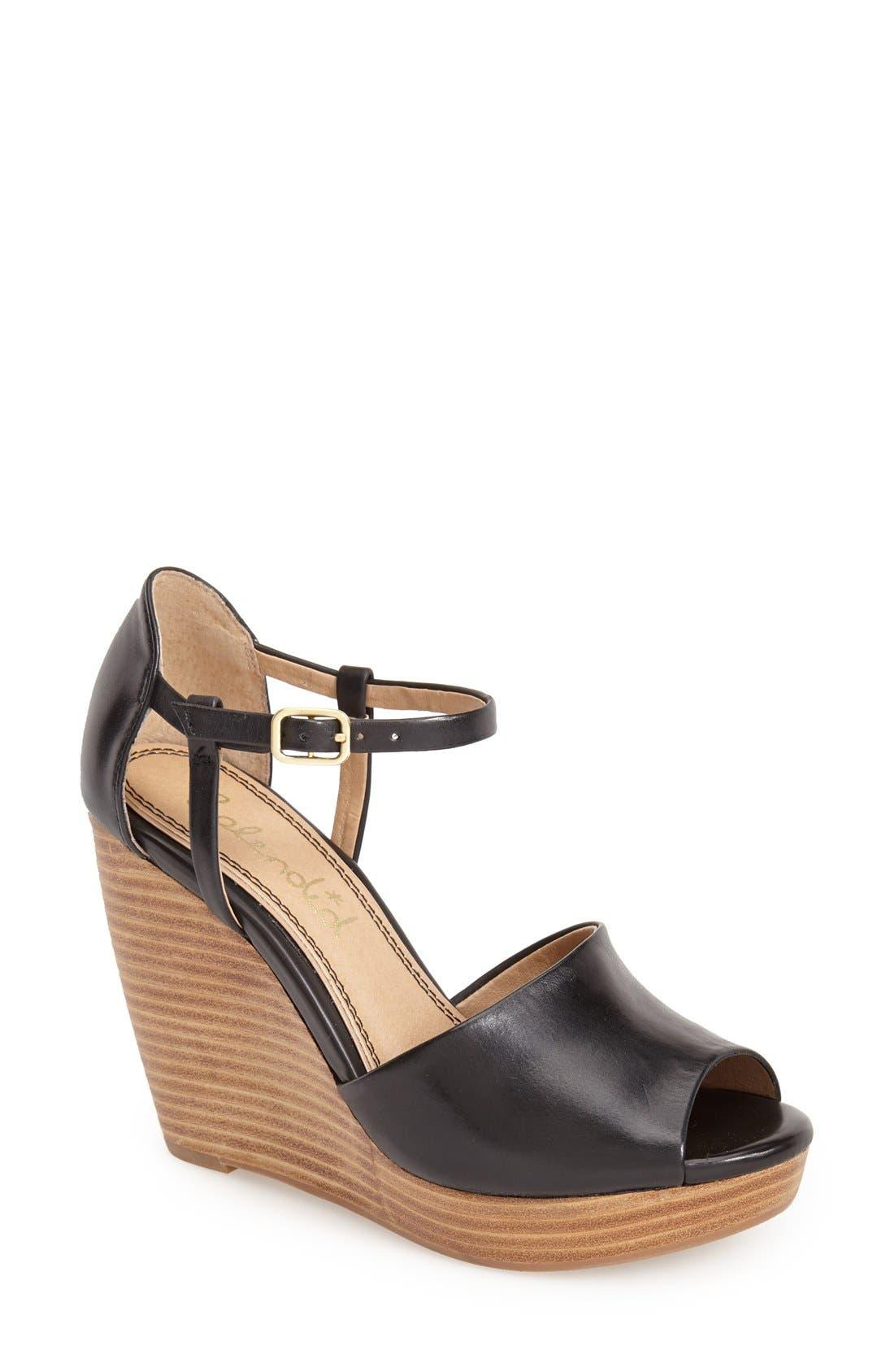 Main Image - Splendid 'Davie' Leather Ankle Strap Wedge Sandal (Women)