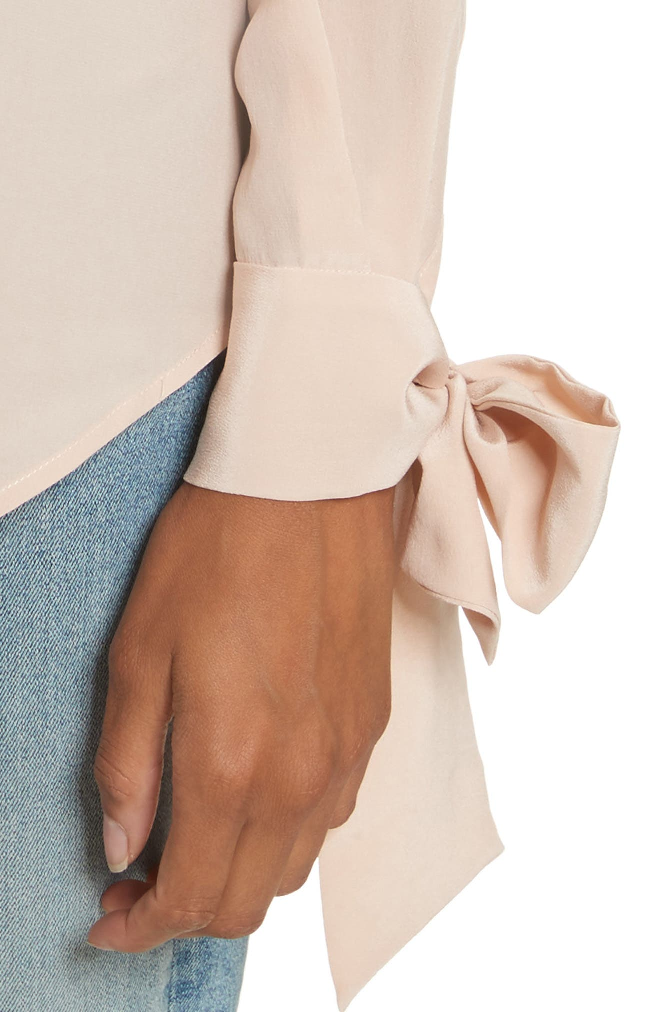 Aurora Tie Sleeve Blouse,                             Alternate thumbnail 4, color,                             French Nude
